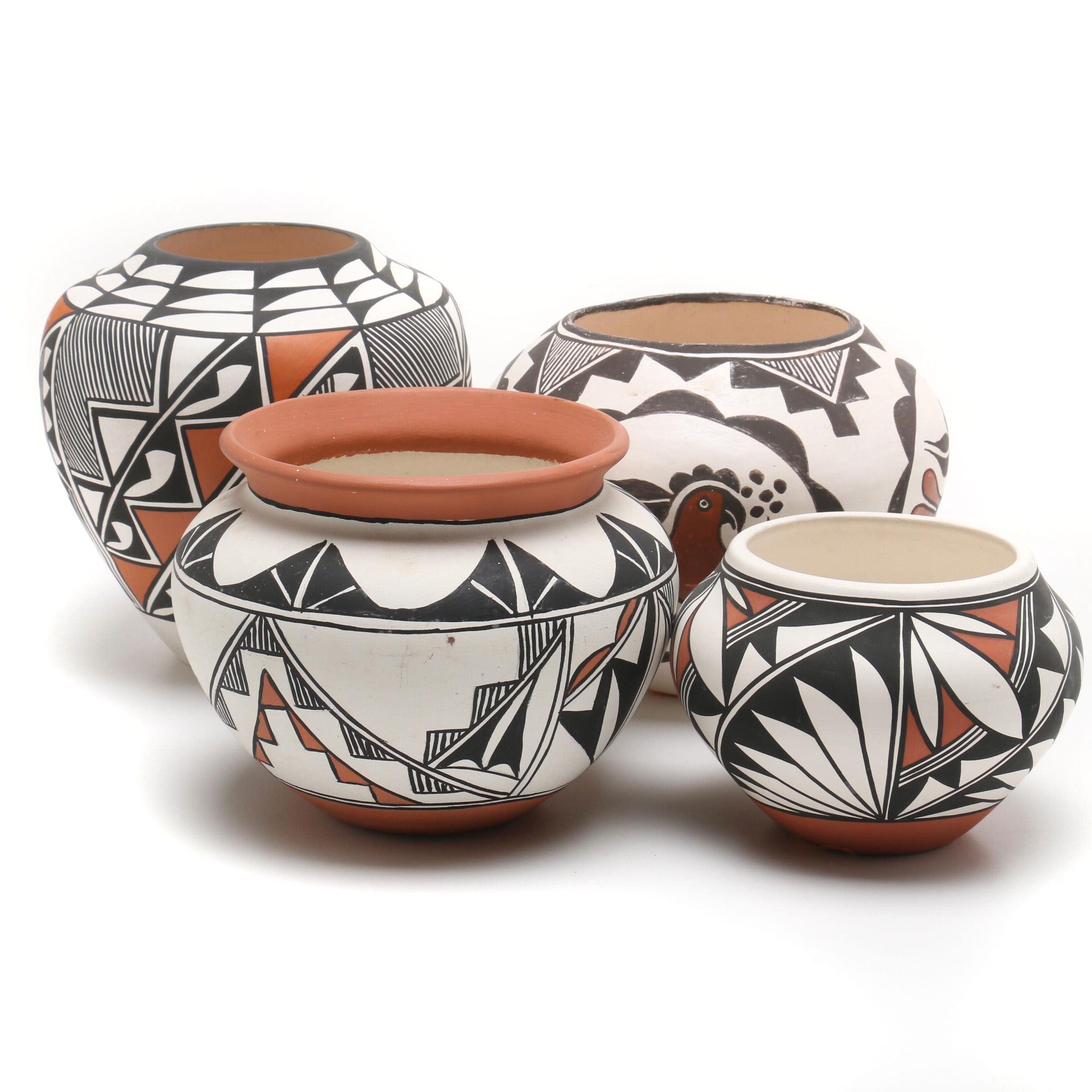 Acoma and Isleta Pueblo Polychrome Earthenware Pottery Featuring Freida Vallo