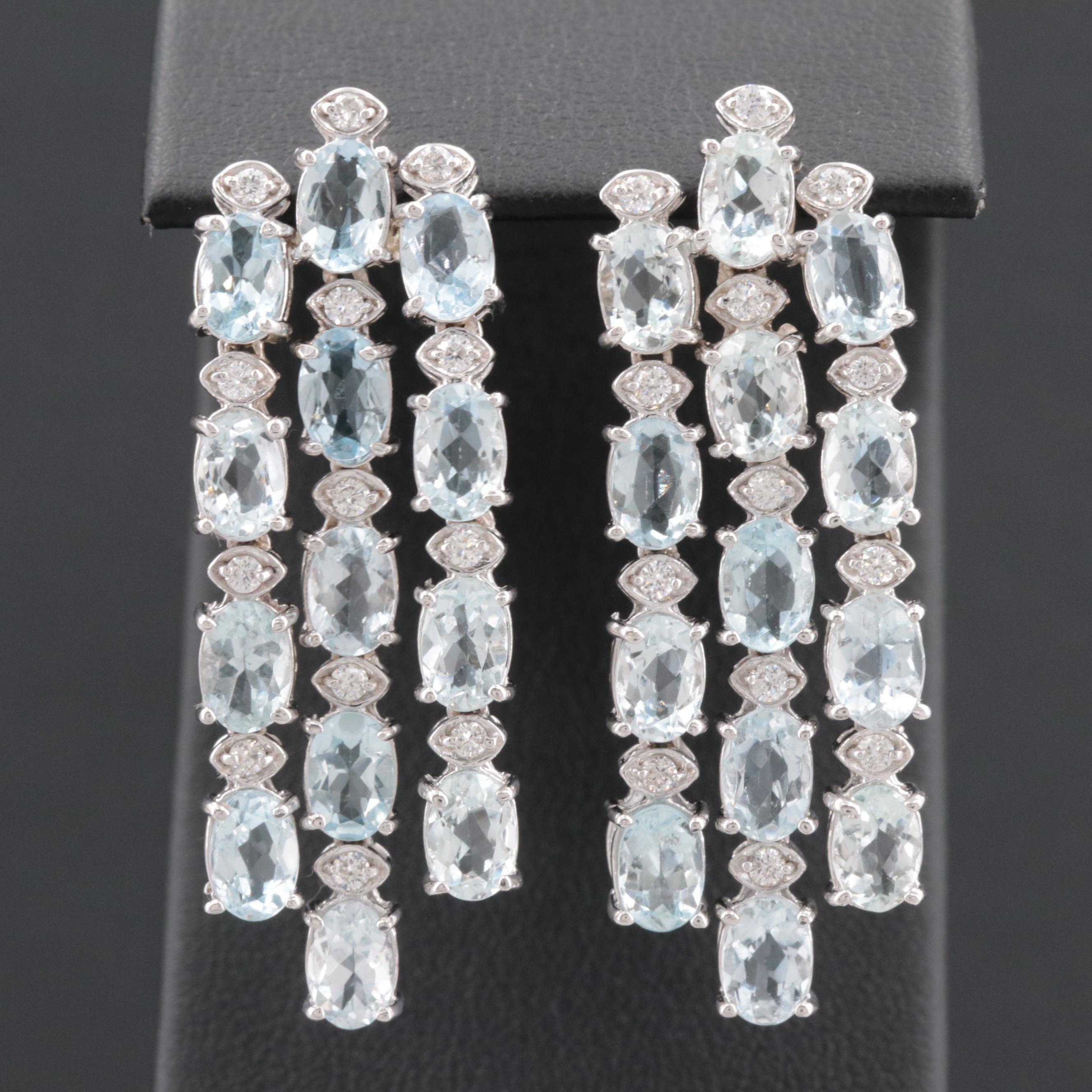 18K White Gold Aquamarine and Diamond Chandelier Earrings