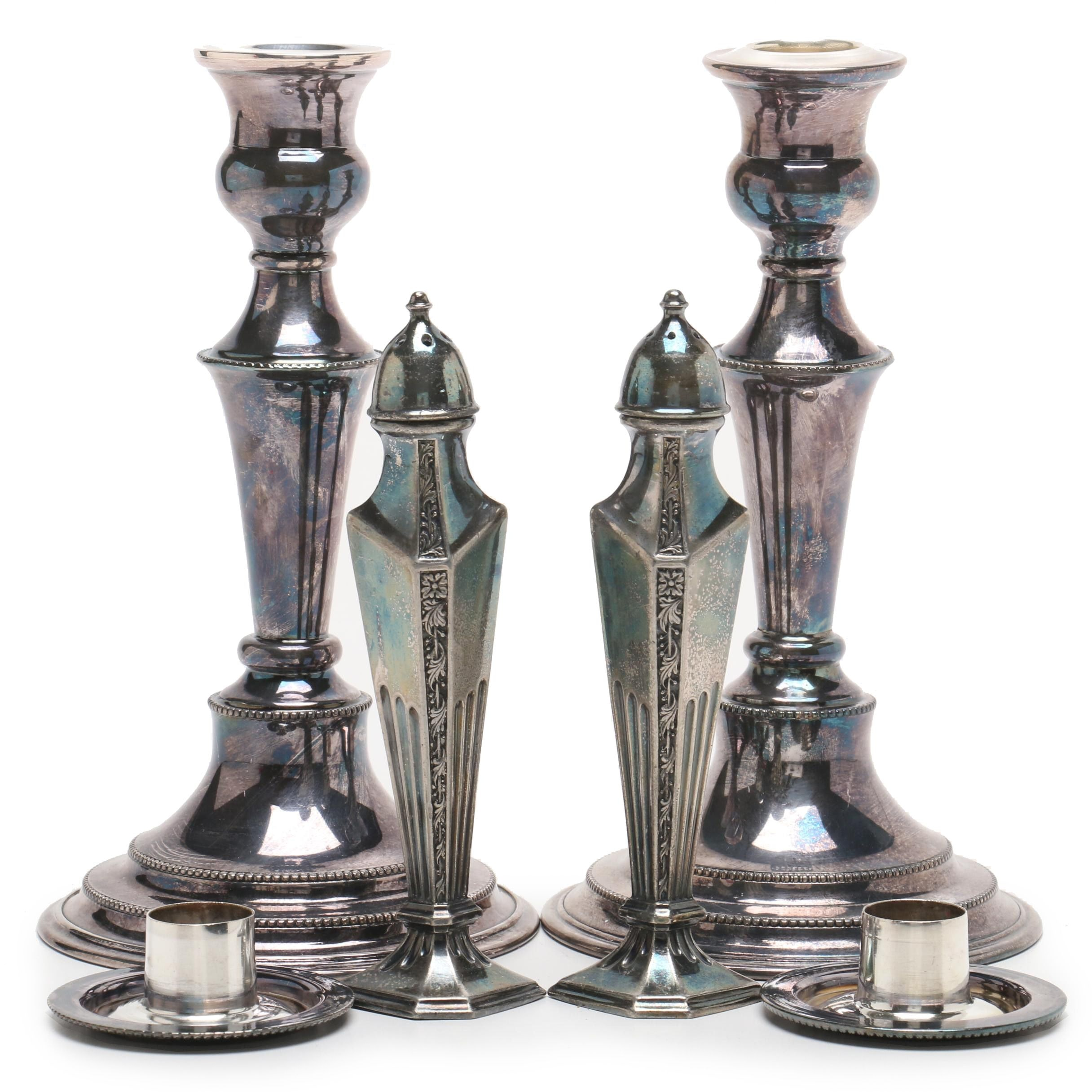 Silver Plate Candlesticks and Salt and Pepper Shakers