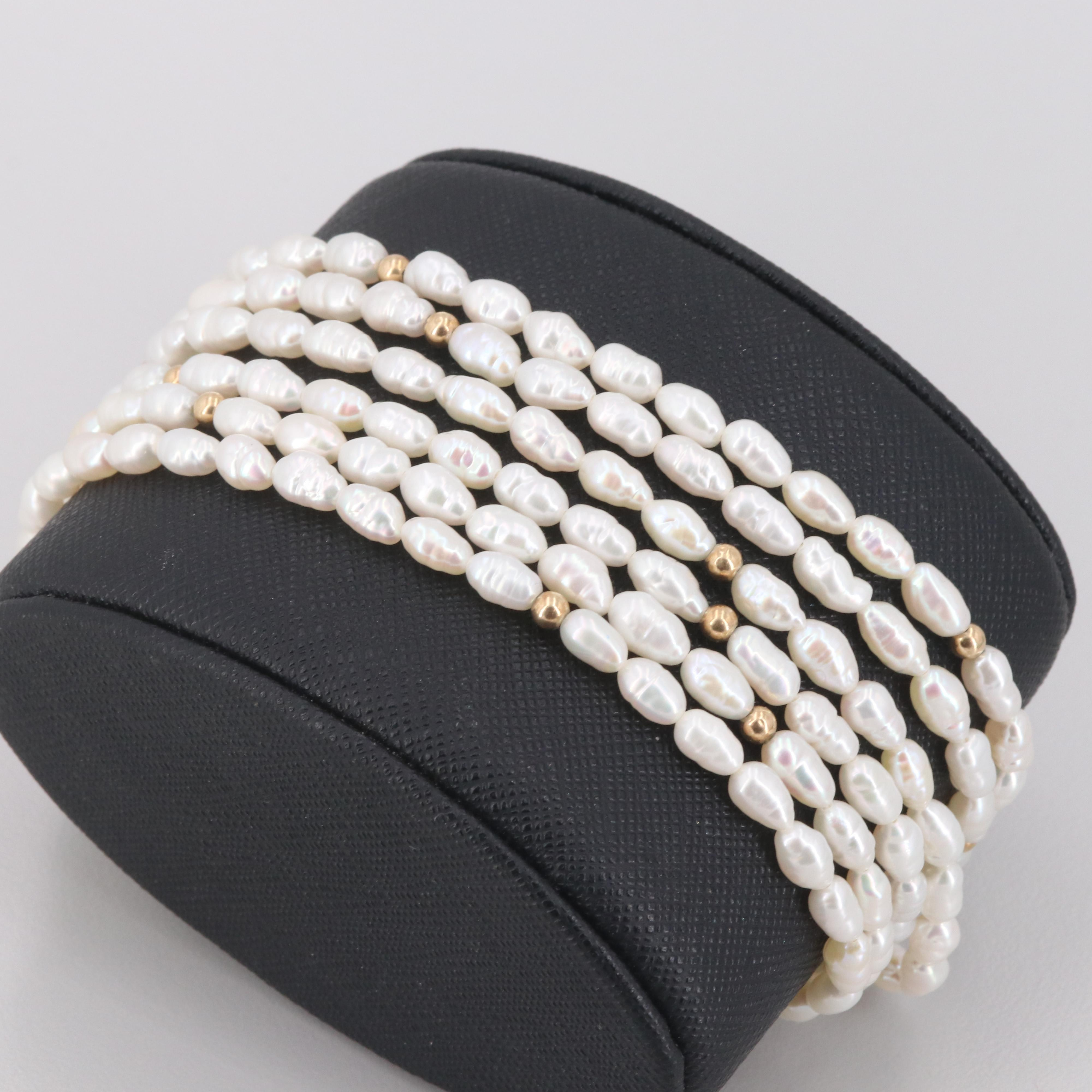 14K Yellow Gold Cultured Pearl Bracelet with Six Strands