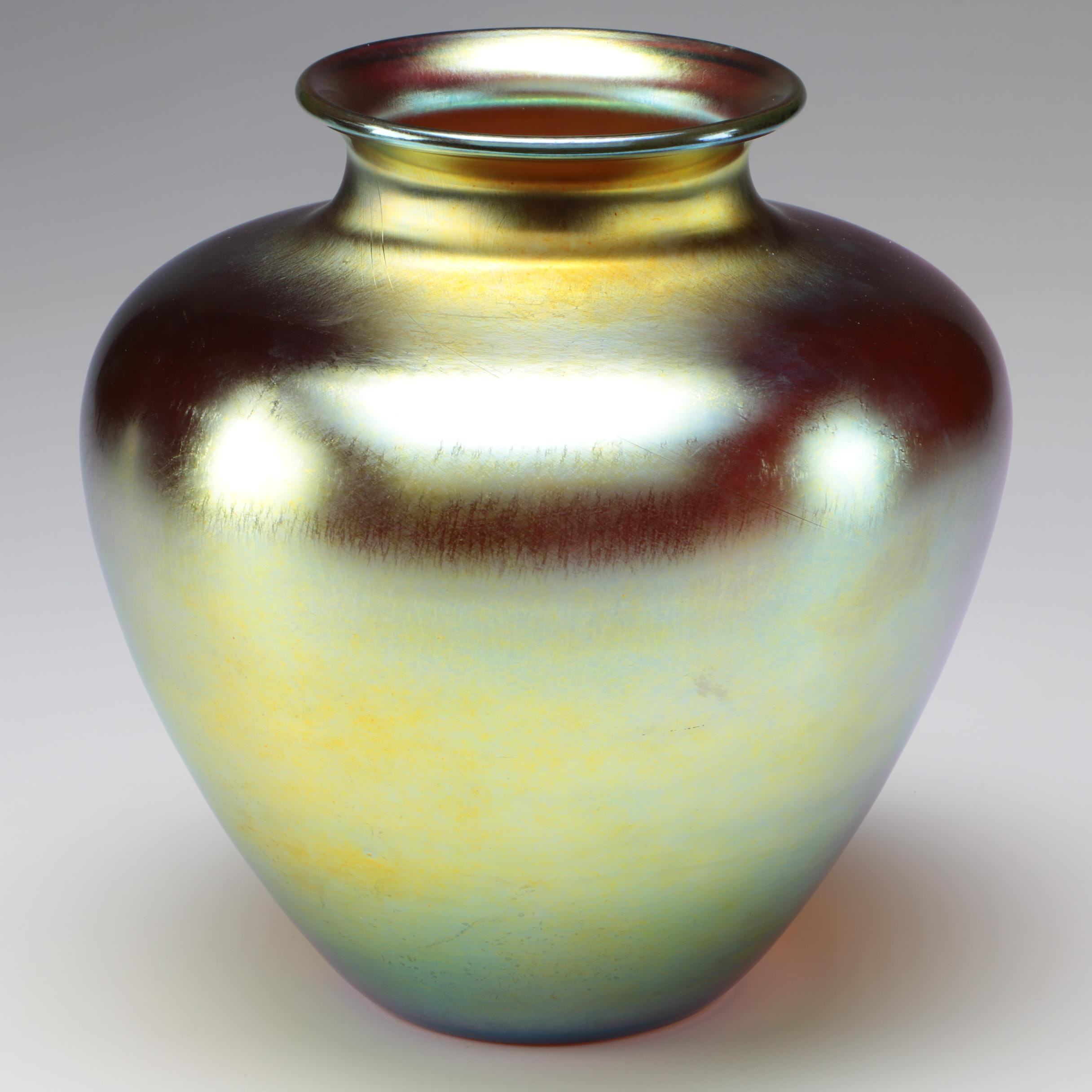 Steuben Gold Aurene Art Glass Vase, Early 20th Century