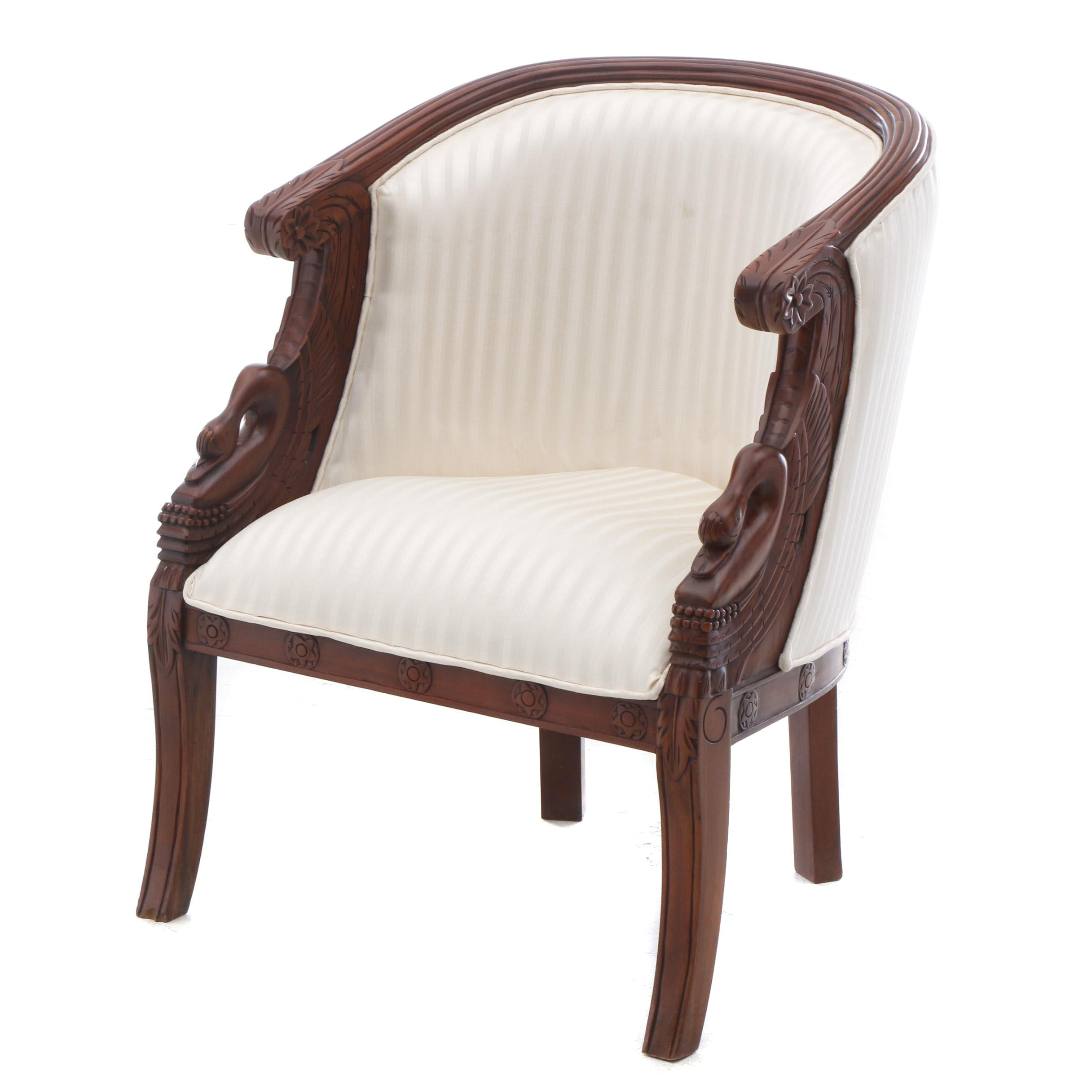 20th Century Empire Style Upholstered Tub Chair in Mahogany