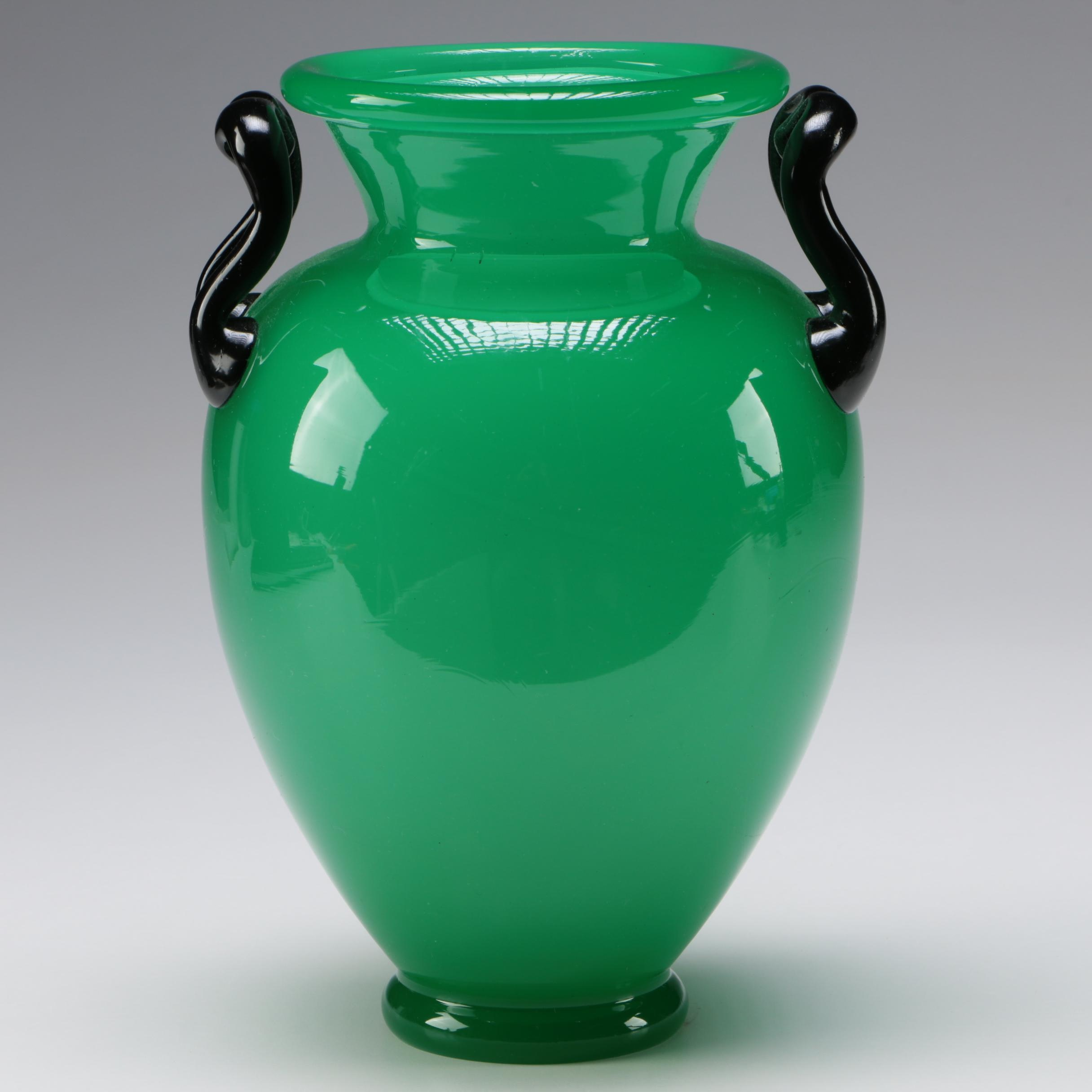 Steuben Jade Green Art Glass Vase with Mirror Black Handles, Early 20th Century