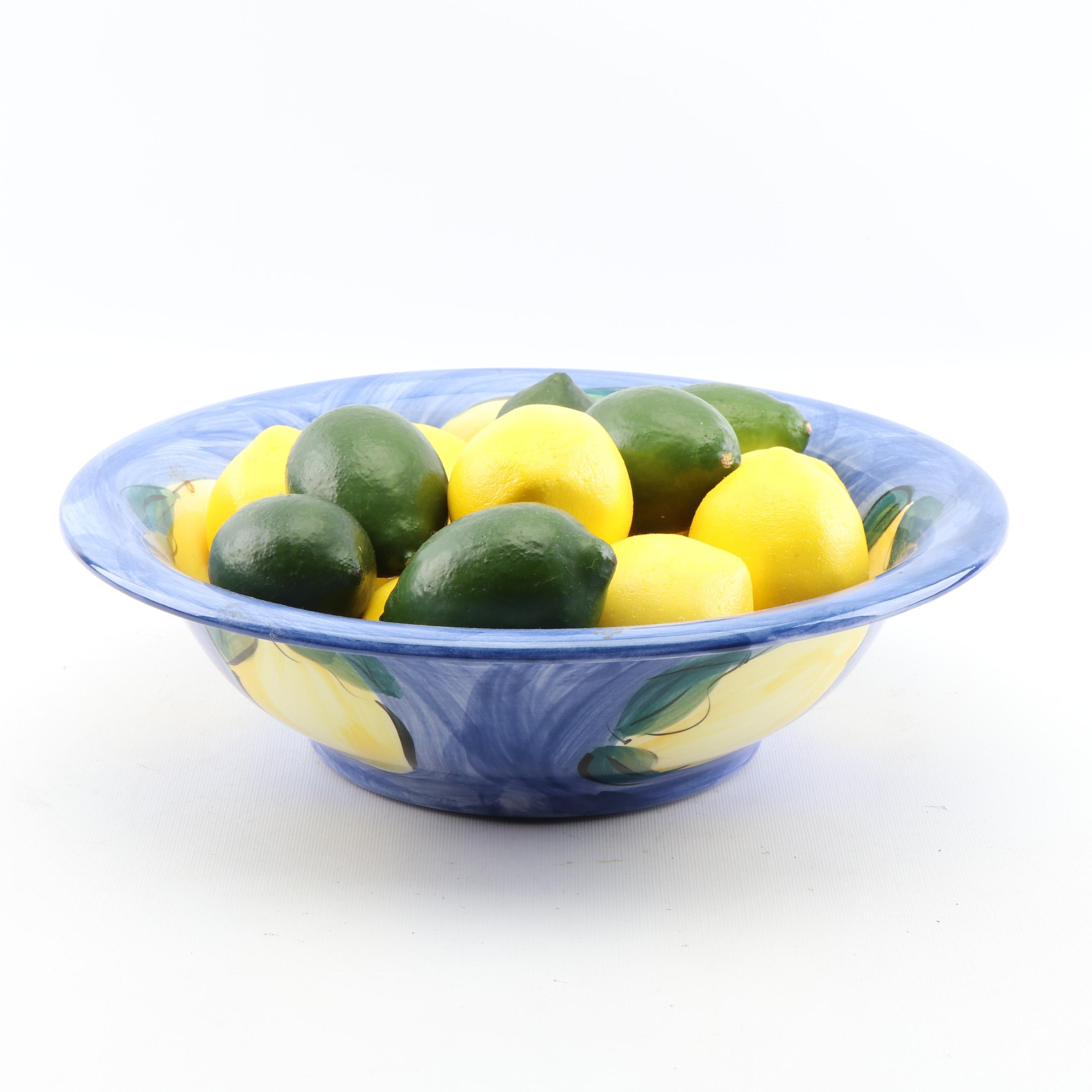 Baba Paul Hand-Painted Lemon Majolica Bowl with Artificial Fruit
