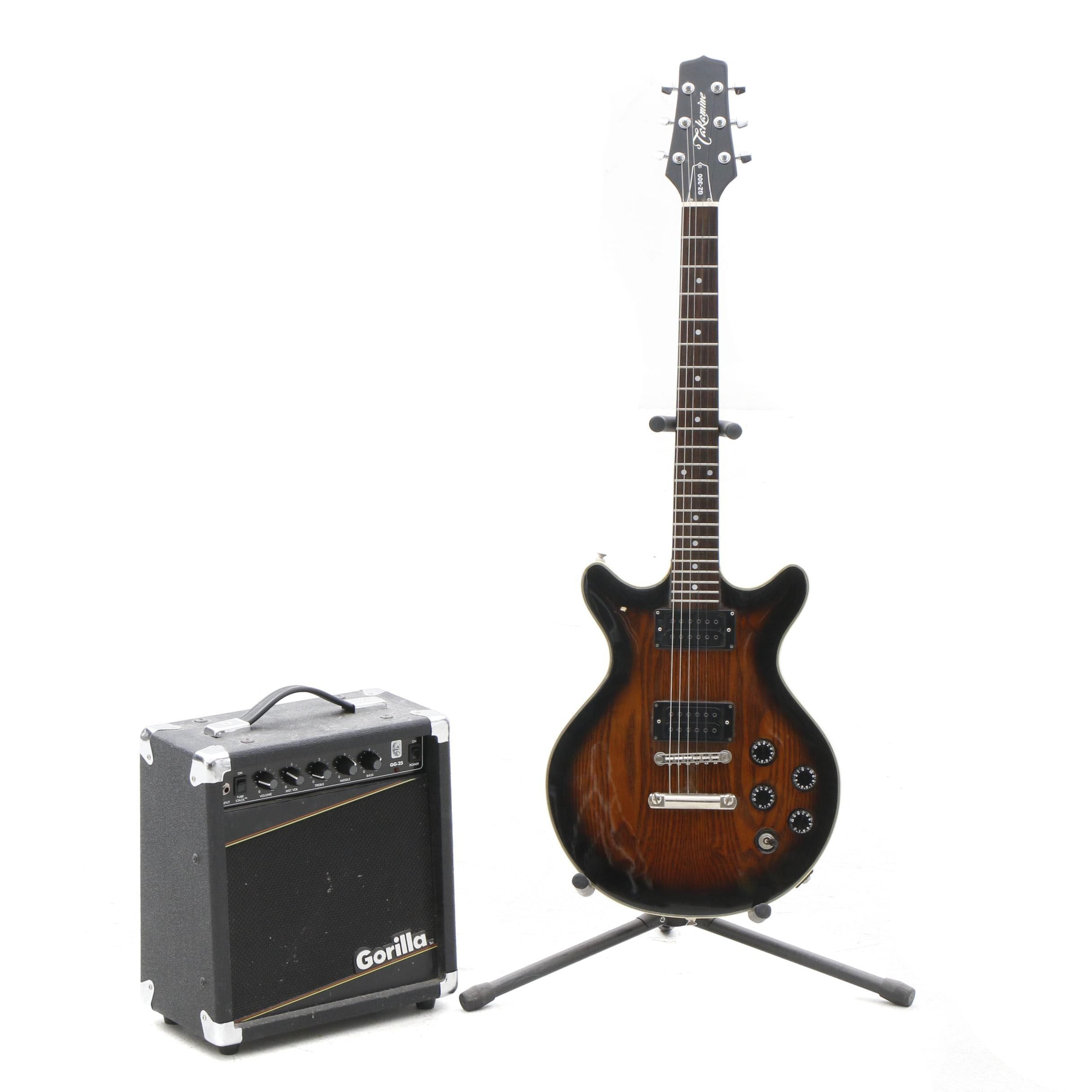 Takamine GZ-300 Electric Guitar With Gorilla GG-25 Amplifier and Carrying Cases