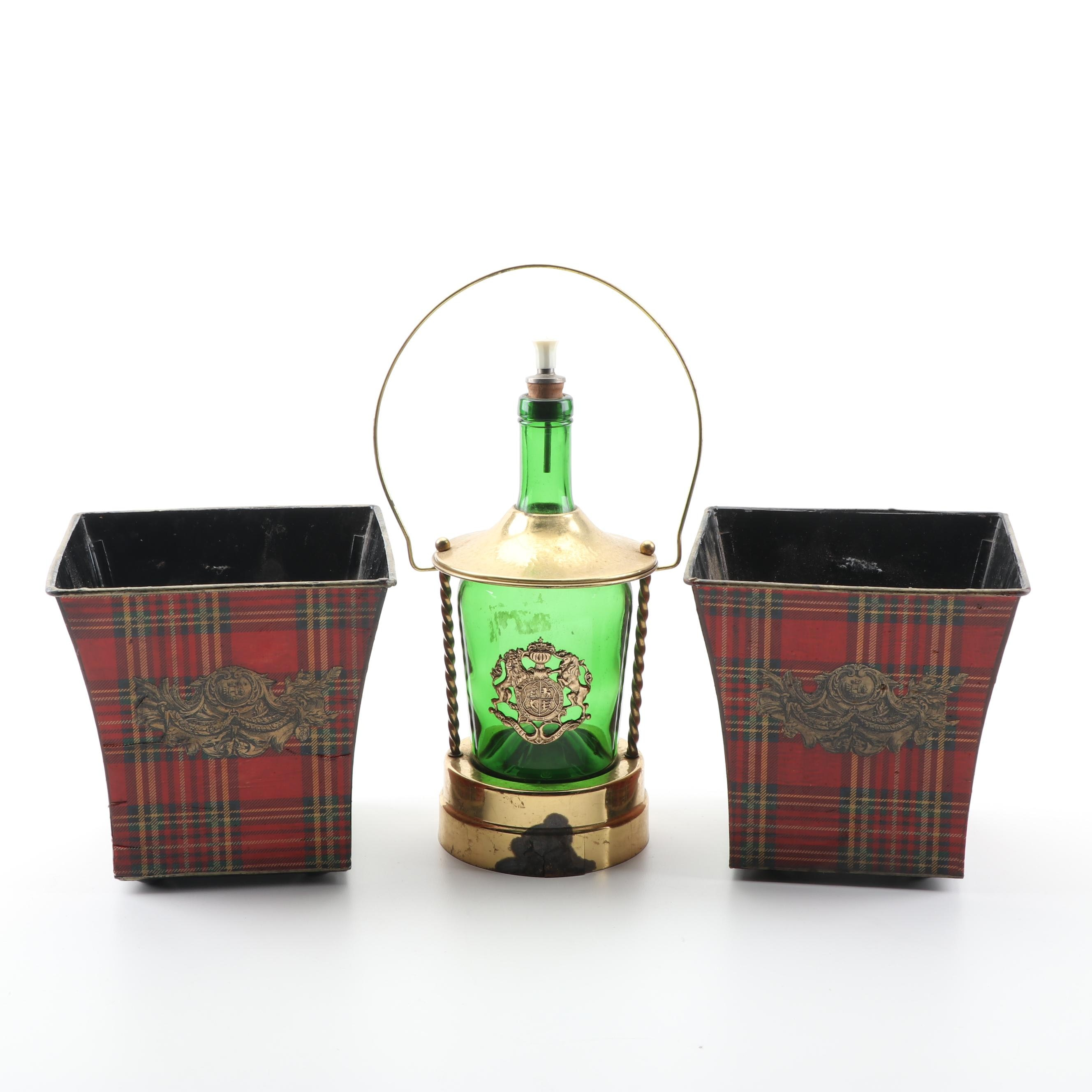 Red Plaid Decoupage Planters and Green Glass Decanter in Brass Stand