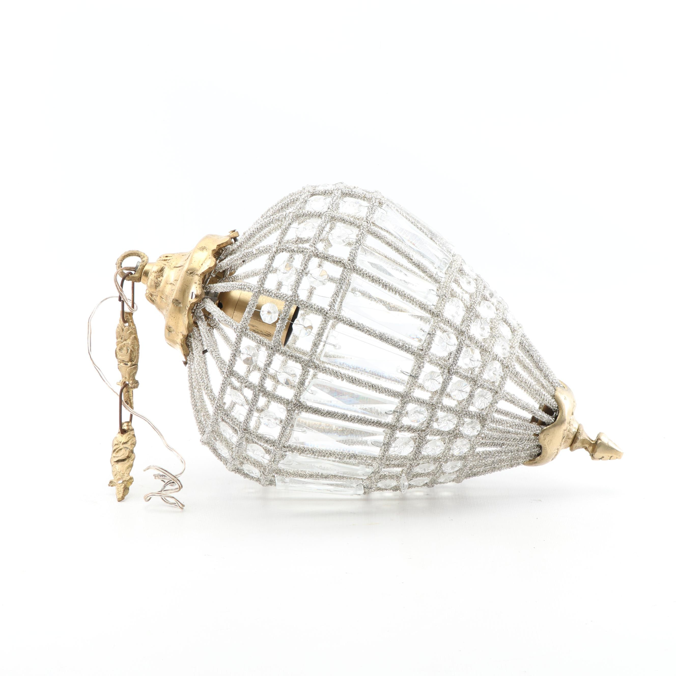 Glass Beaded Brass Cage Pendant Light