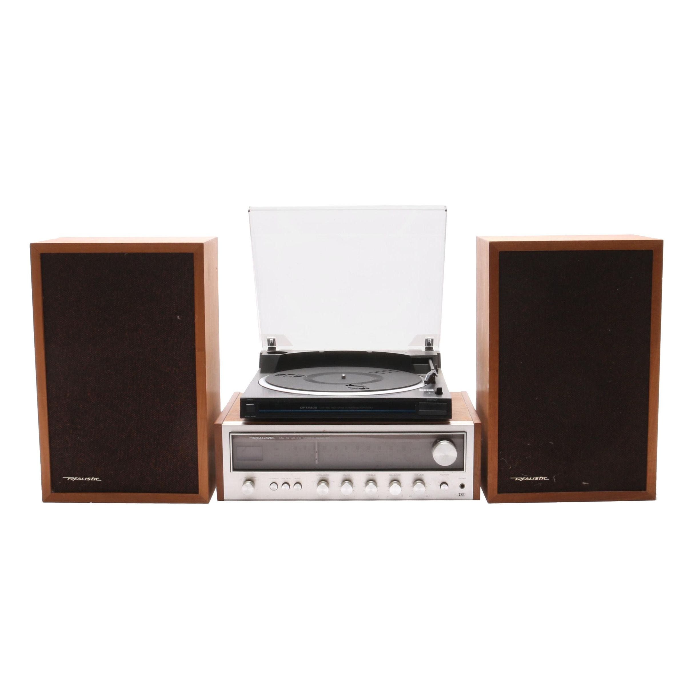 Record Player with Realistic Receiver and Speakers