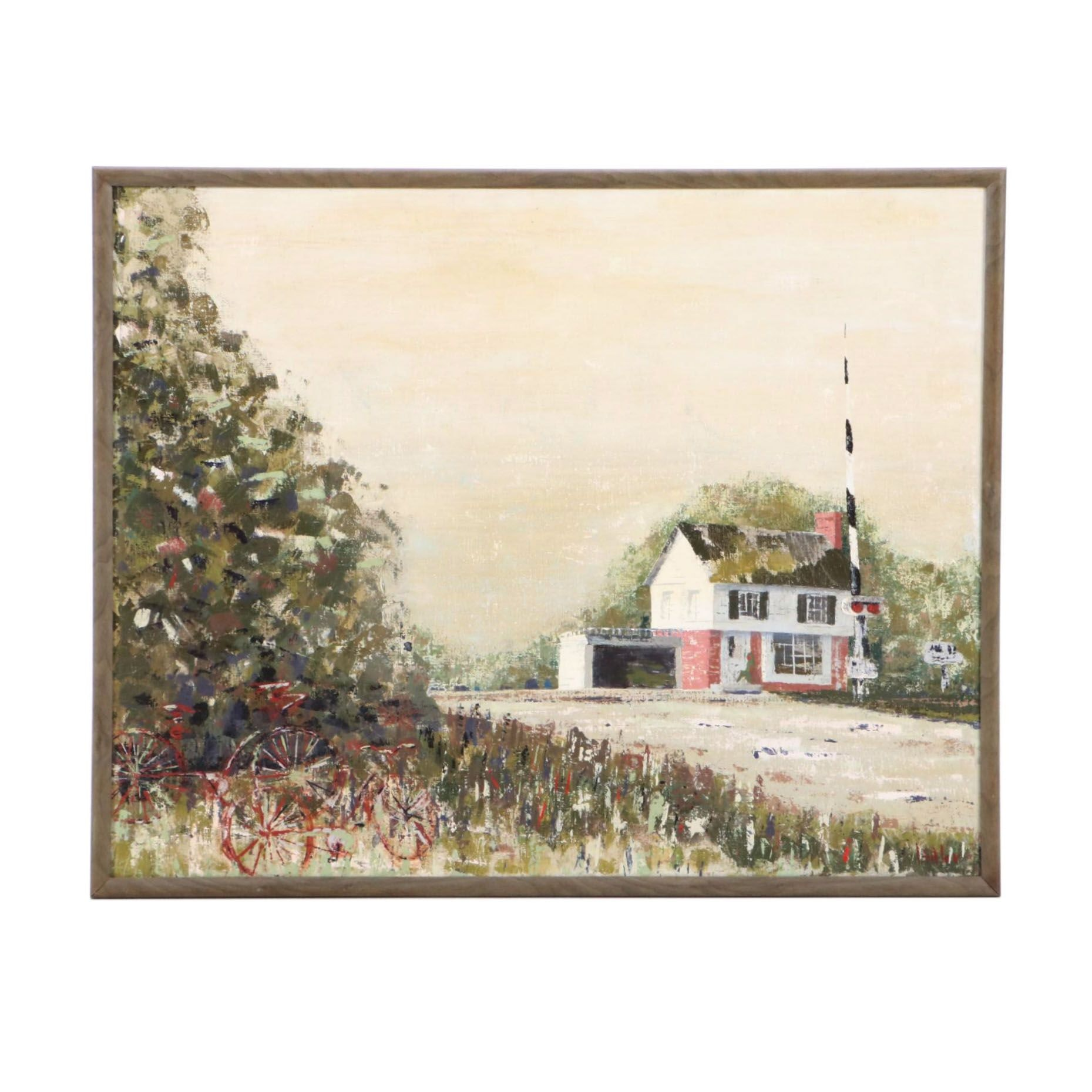 Butler Oil Painting of House Near Railroad Tracks