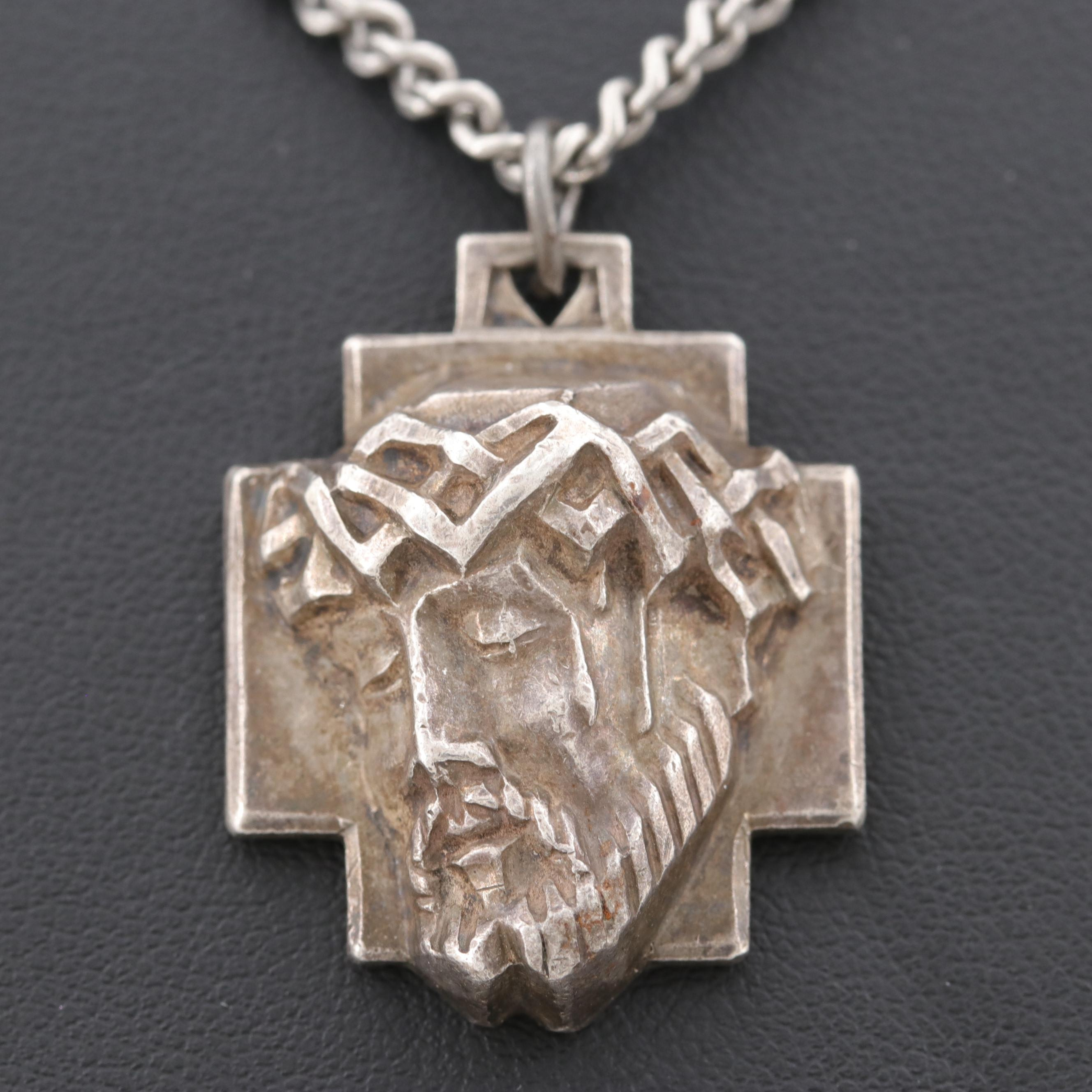 Sterling Silver Religious Pendant on Endless Chain