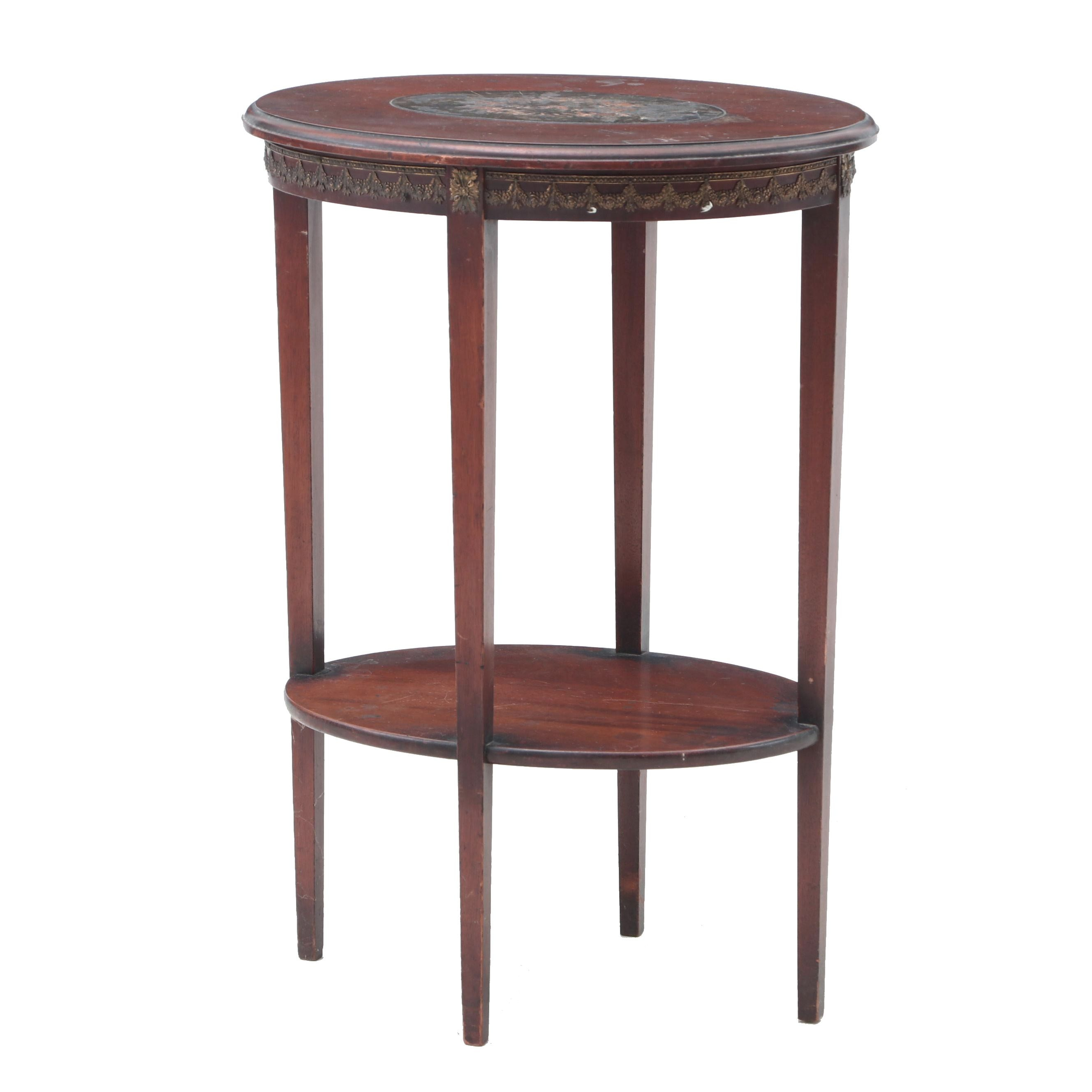 Early-20th Century Edwardian Occasional Table with Marquetry Inlay in Mahogany
