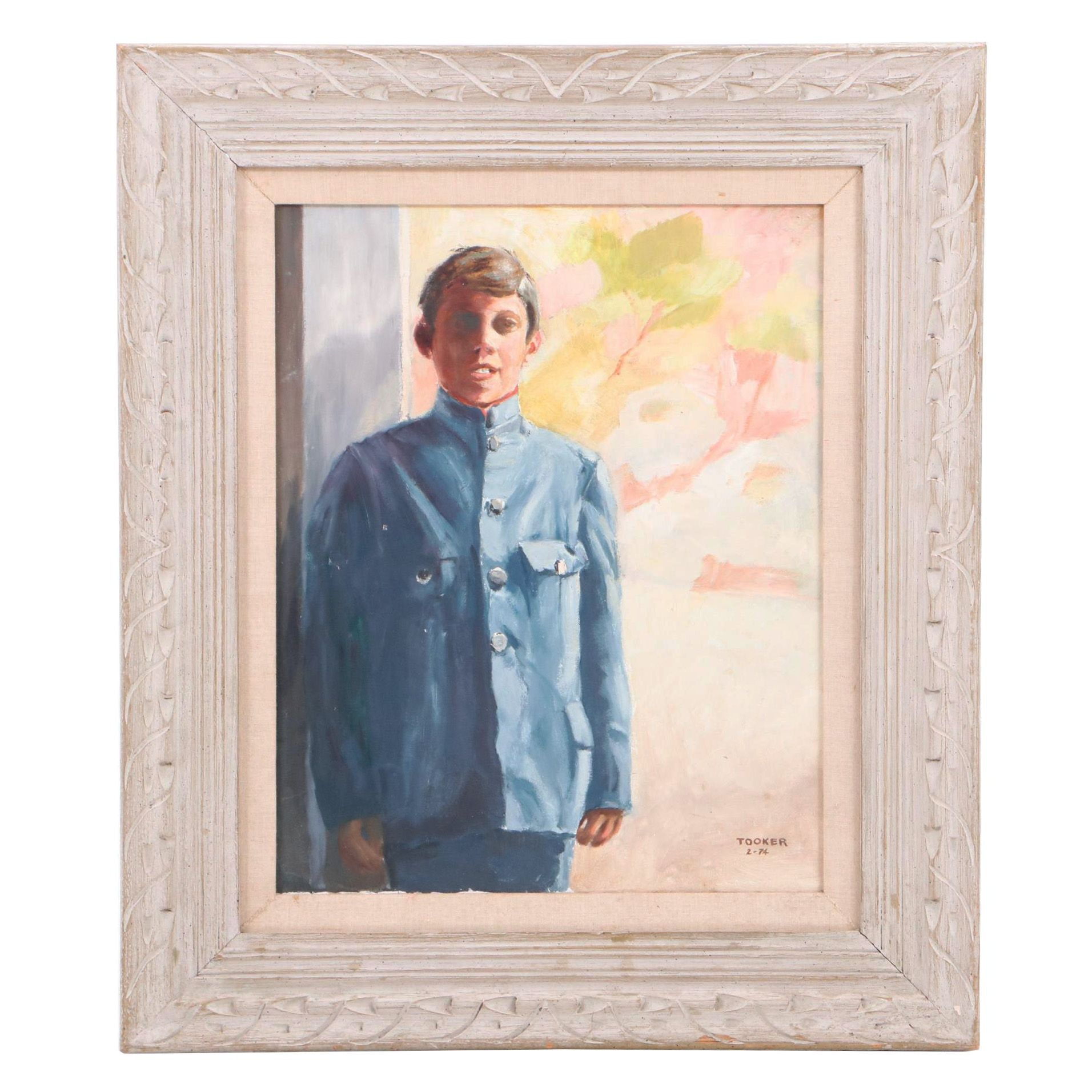 1974 Oil Portrait Painting of Young Man