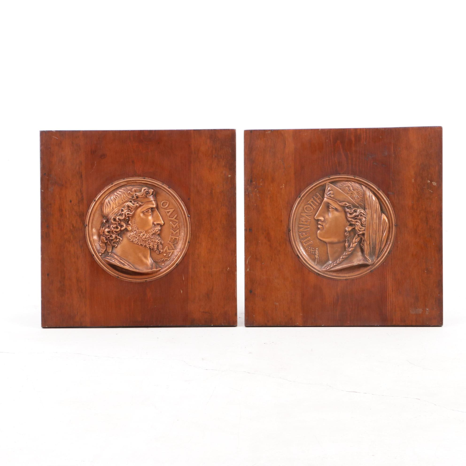 Framed Copper Relief Medallions of Ulysses and Penelope