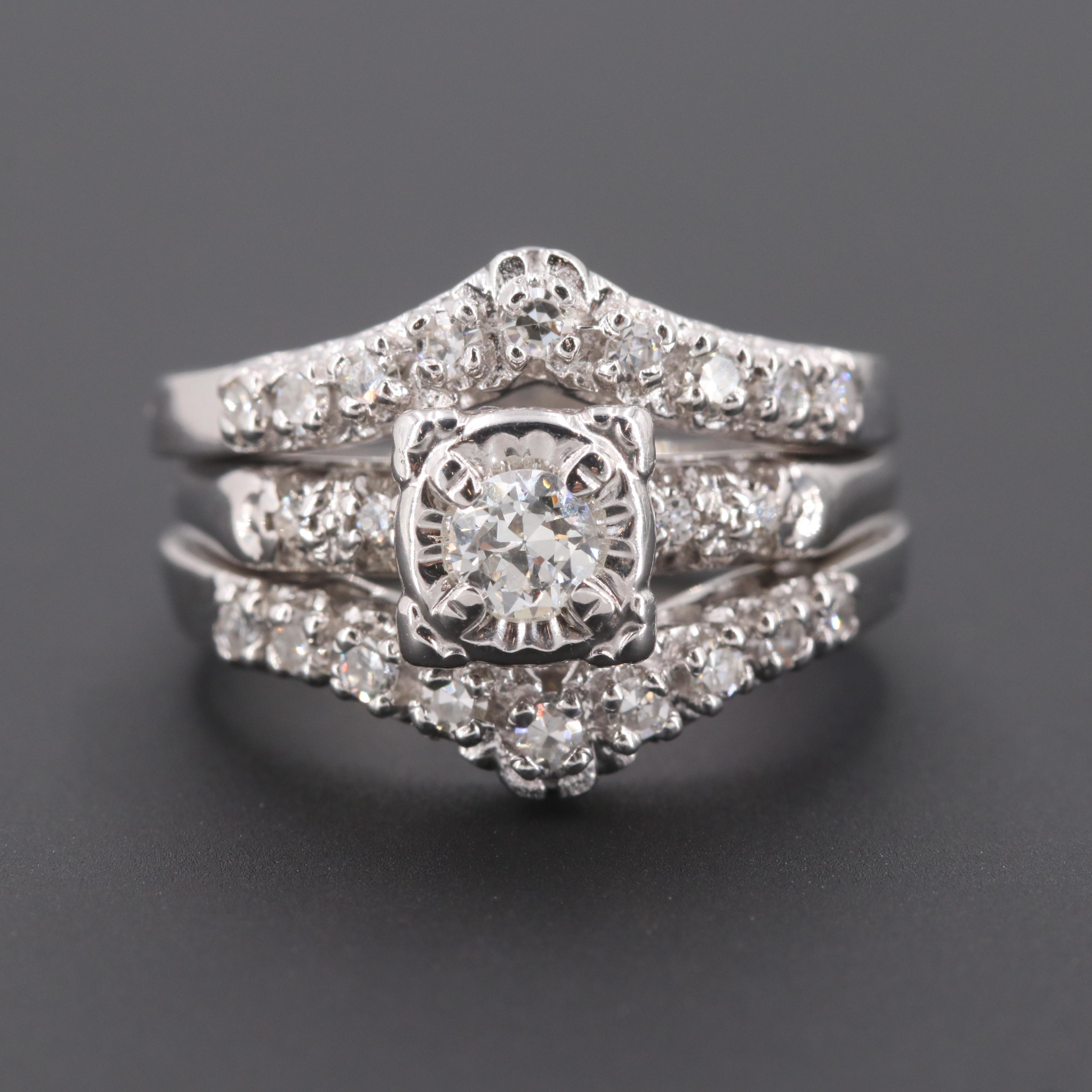 14K White Gold Diamond Ring and Ring Guard