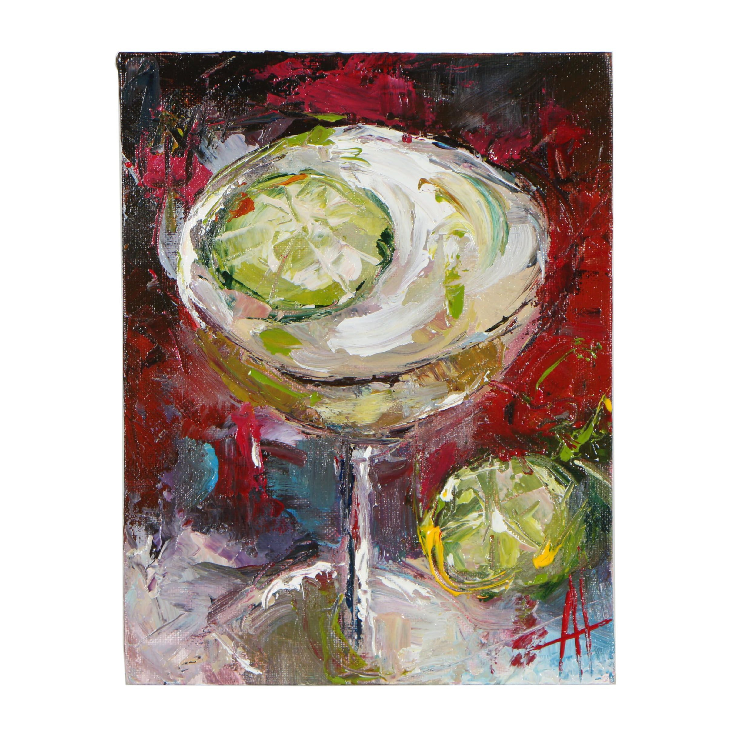 "Anne Thouthip Acrylic Painting ""Daiquiri & Floating Lime"""