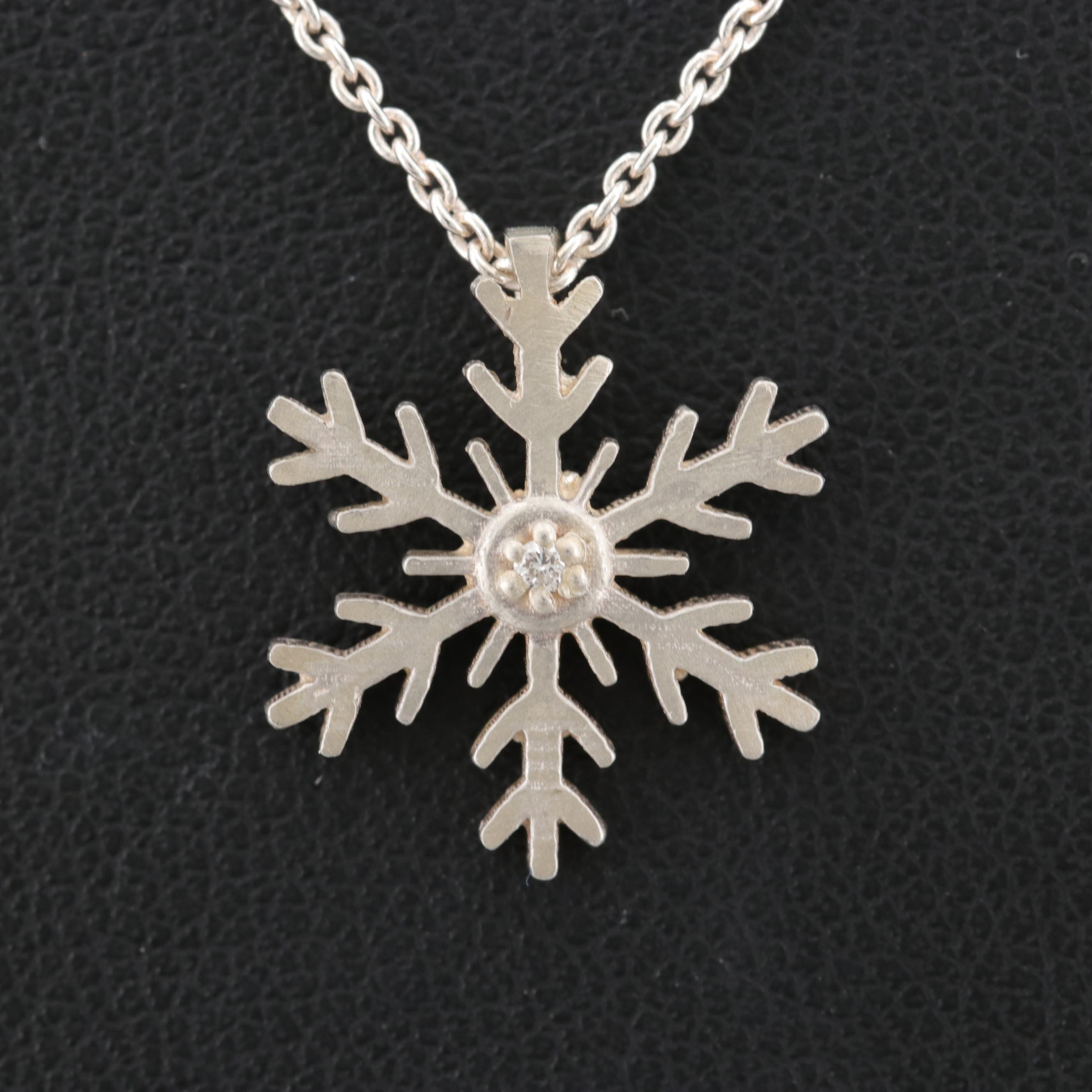 Sterling Silver Snowflake Diamond Pendant Necklace