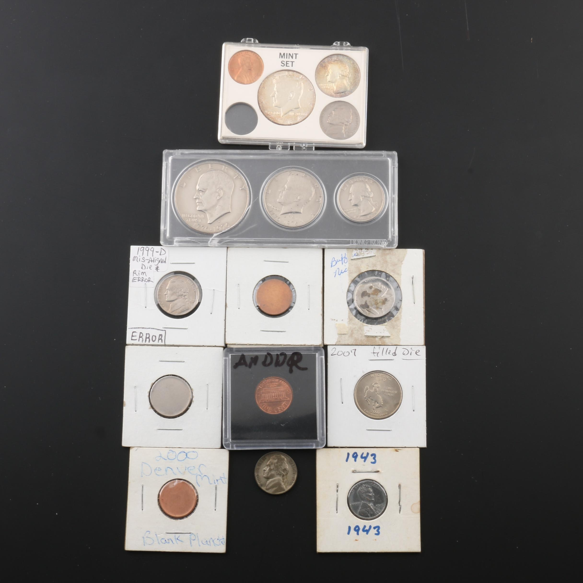 Assortment of U.S. Coins, Including Errors and Silver