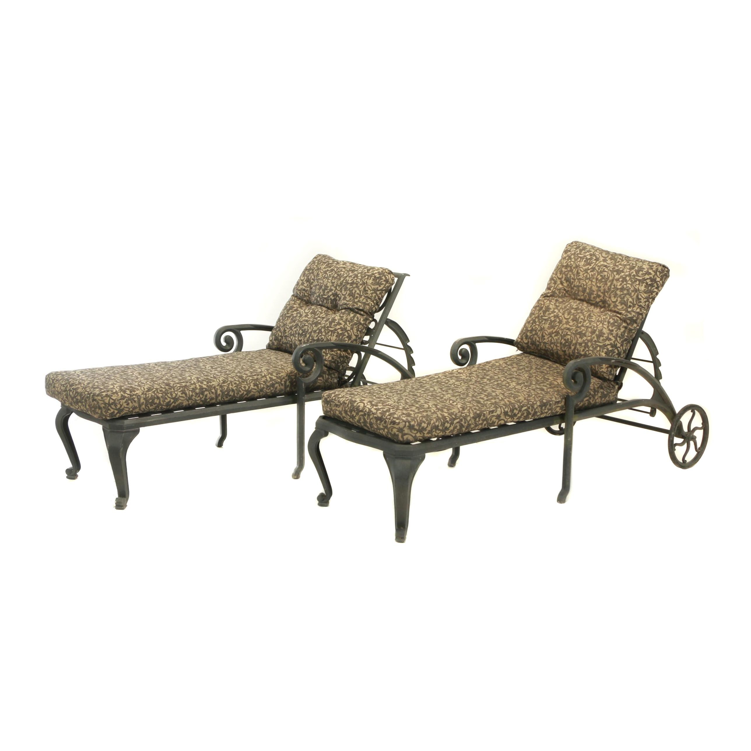 Pair of Contemporary Cast-Aluminum Patio Chaise Lounges by Windham Castings