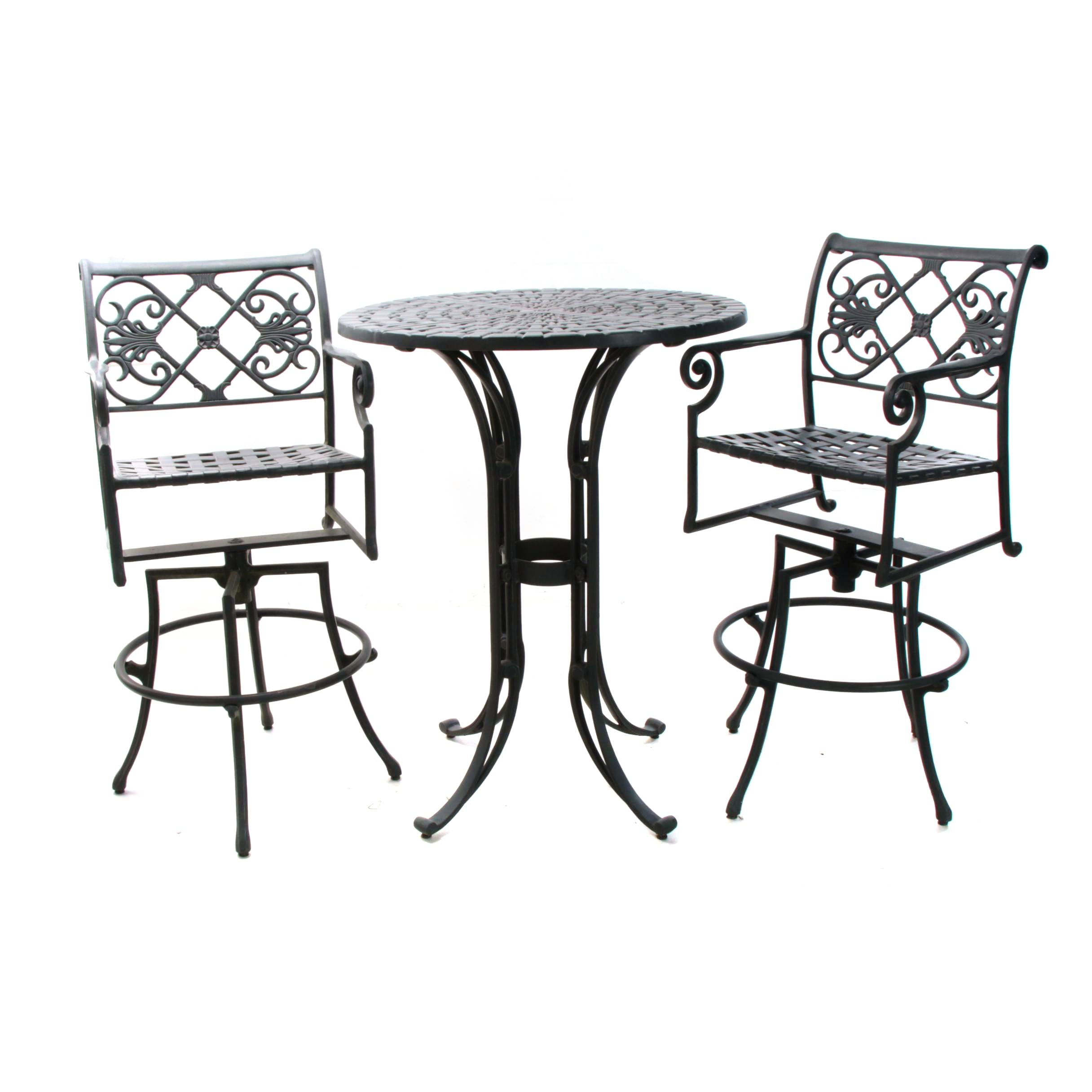 Contemporary Cast-Aluminum Three-Piece Patio Bistro Set by Windham Castings