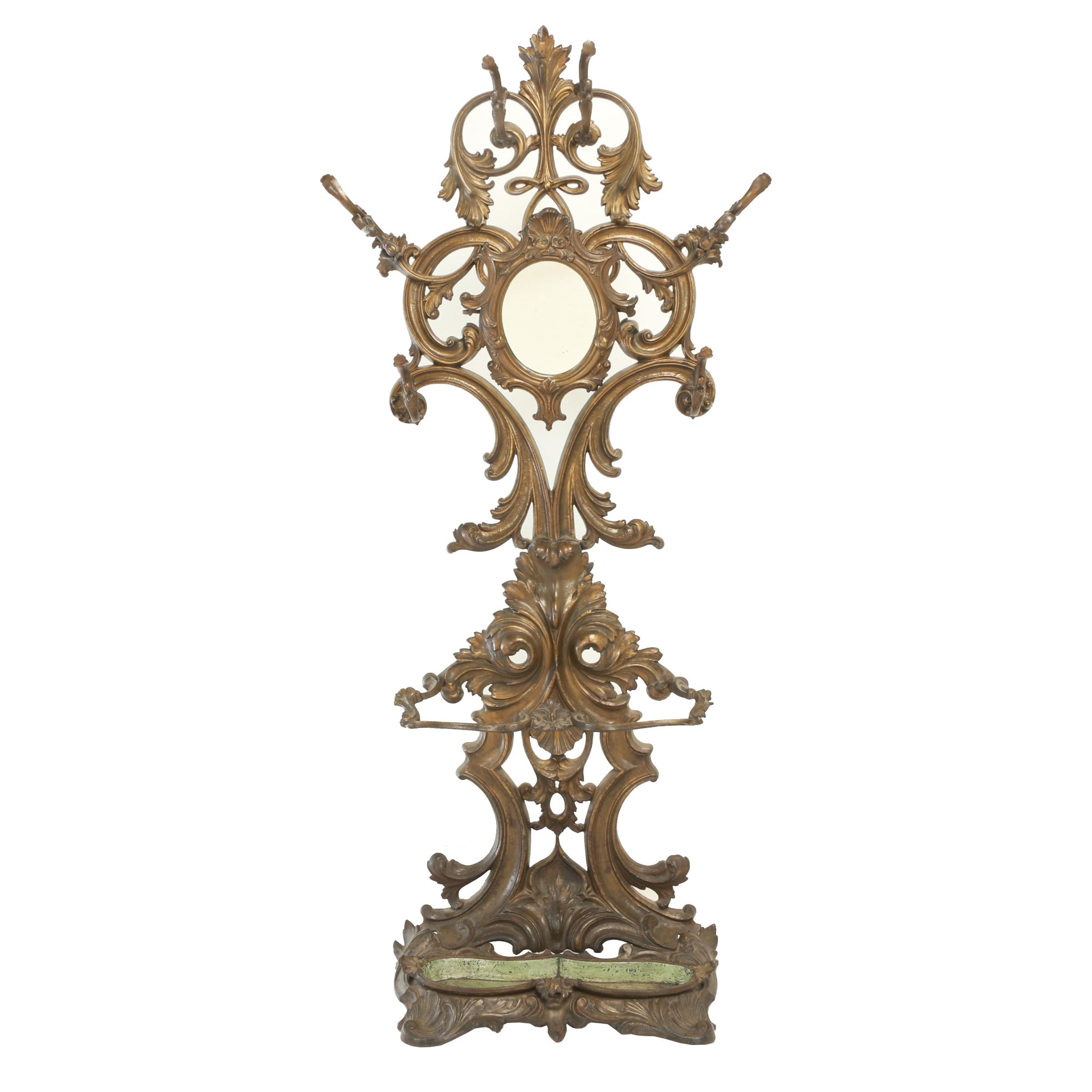 Victorian Rococo Revival Cast Iron and Mirrored Hall Stand, Circa 1860