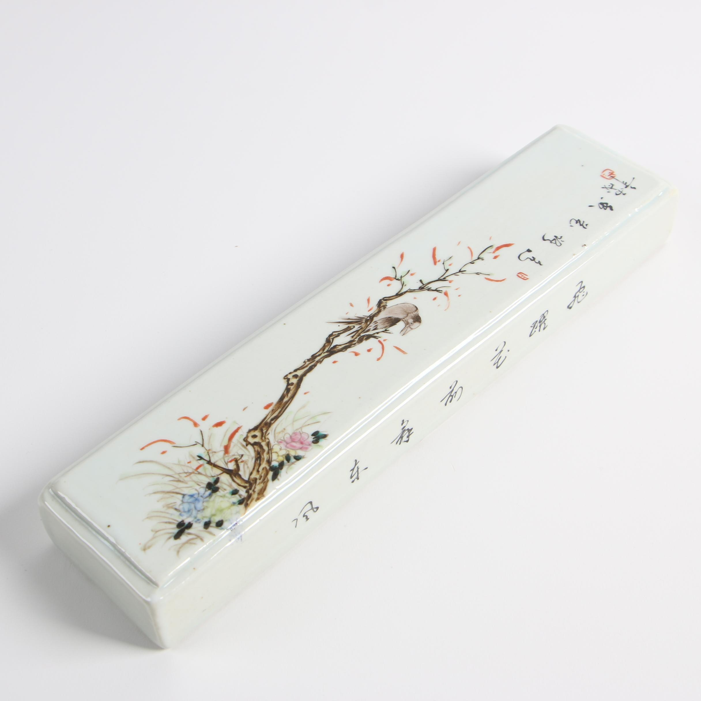 Japanese Porcelain Scholar's Scroll Paperweight, Mid to Late 19th Century
