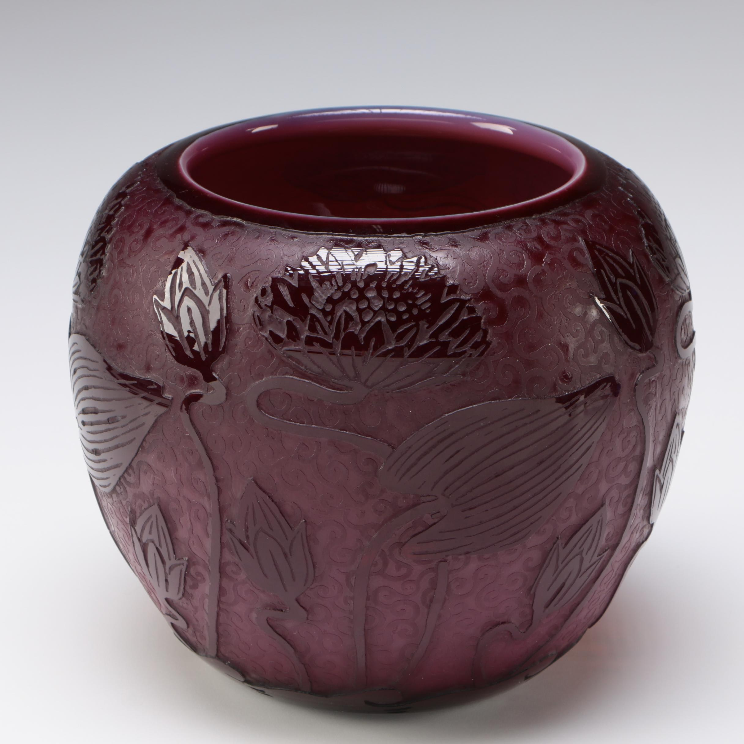 "Steuben Plum Jade ""Lotus"" Art Glass Vase, Early 20th Century"