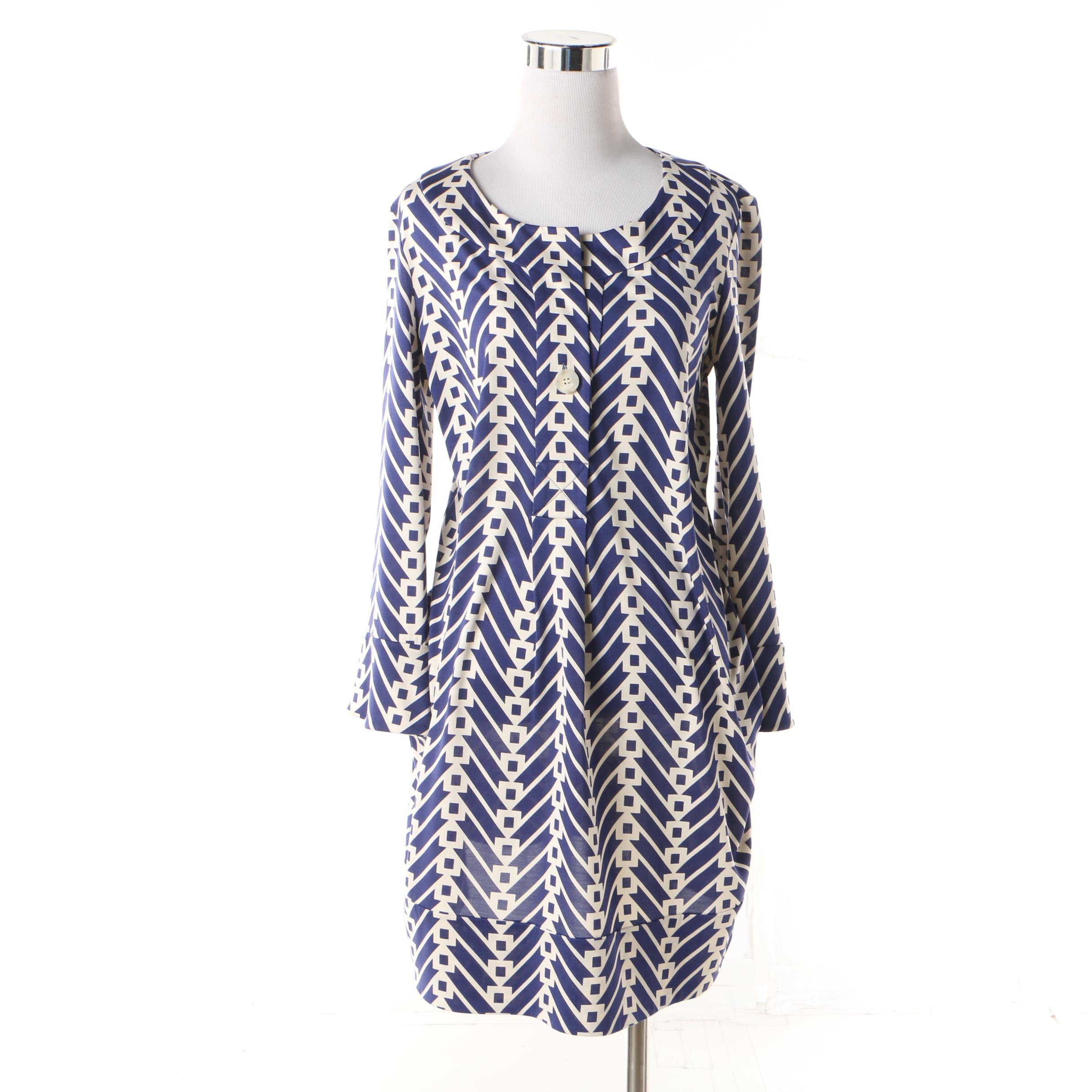 Women's Diane von Furstenberg Blue Print Silk Jersey Gaby Shift Dress