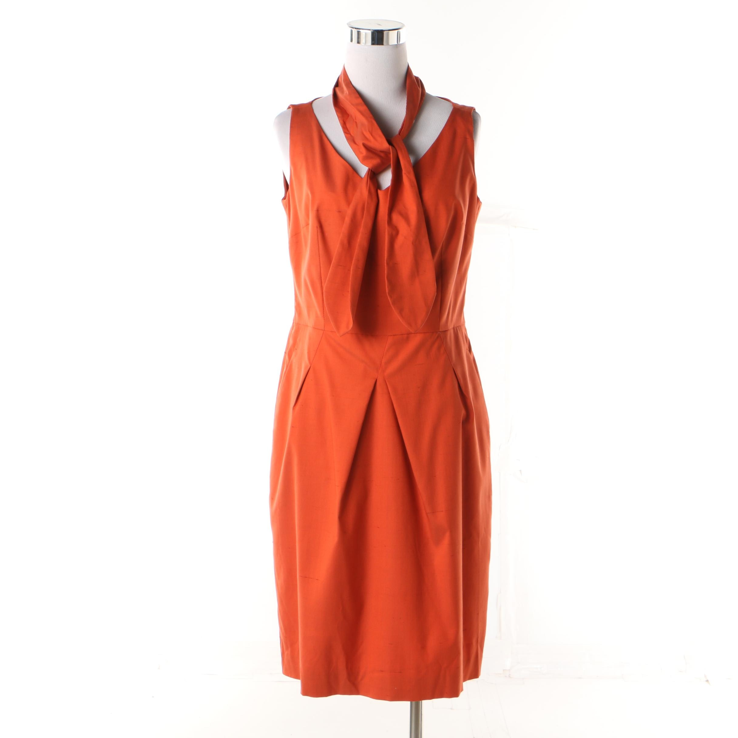 Piazza Sempione Burnt Orange Silk Blend Sleeveless Fitted Dress with Sash