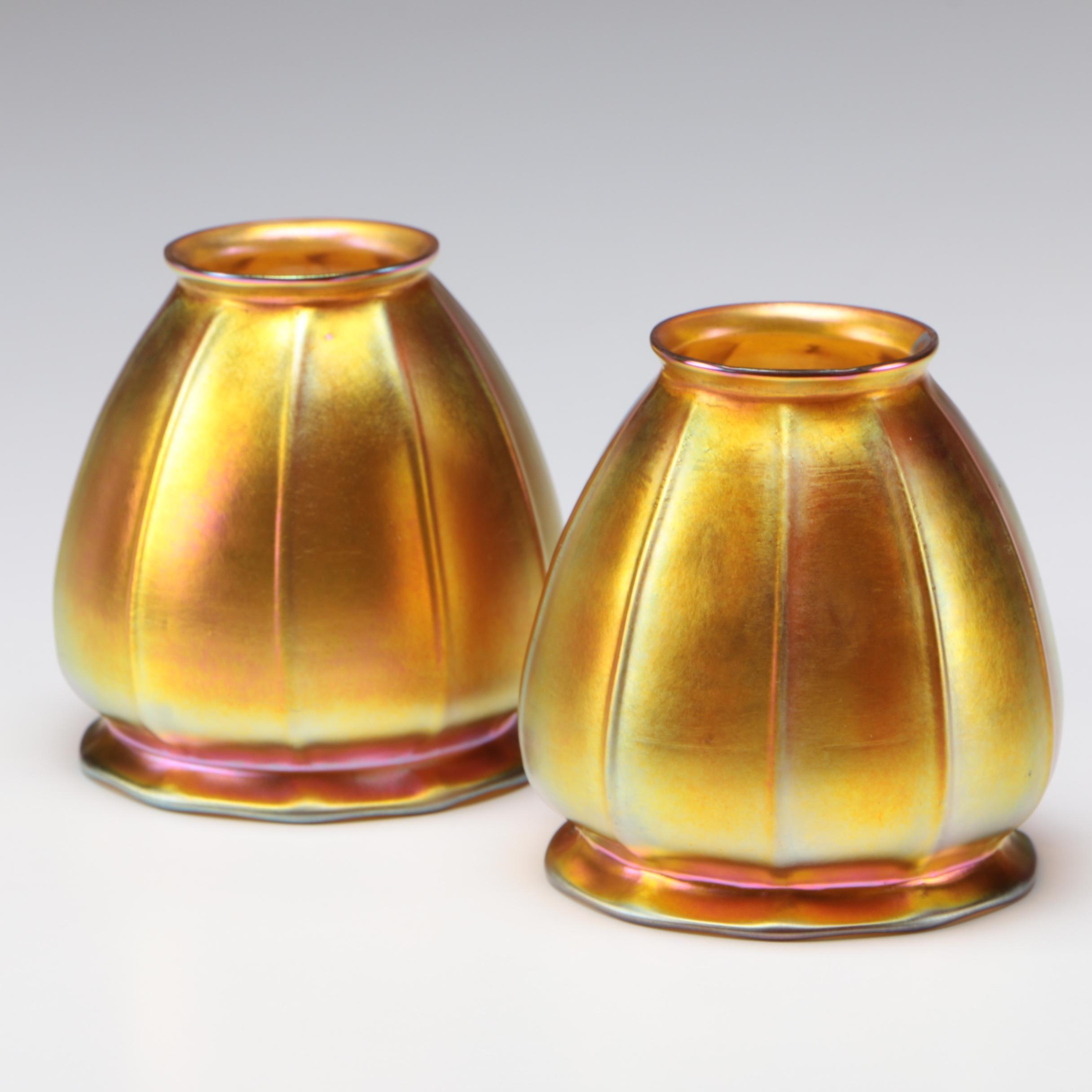 Steuben Gold Aurene Art Glass Shades Designed by Frederick Carder, 1903 - 1933
