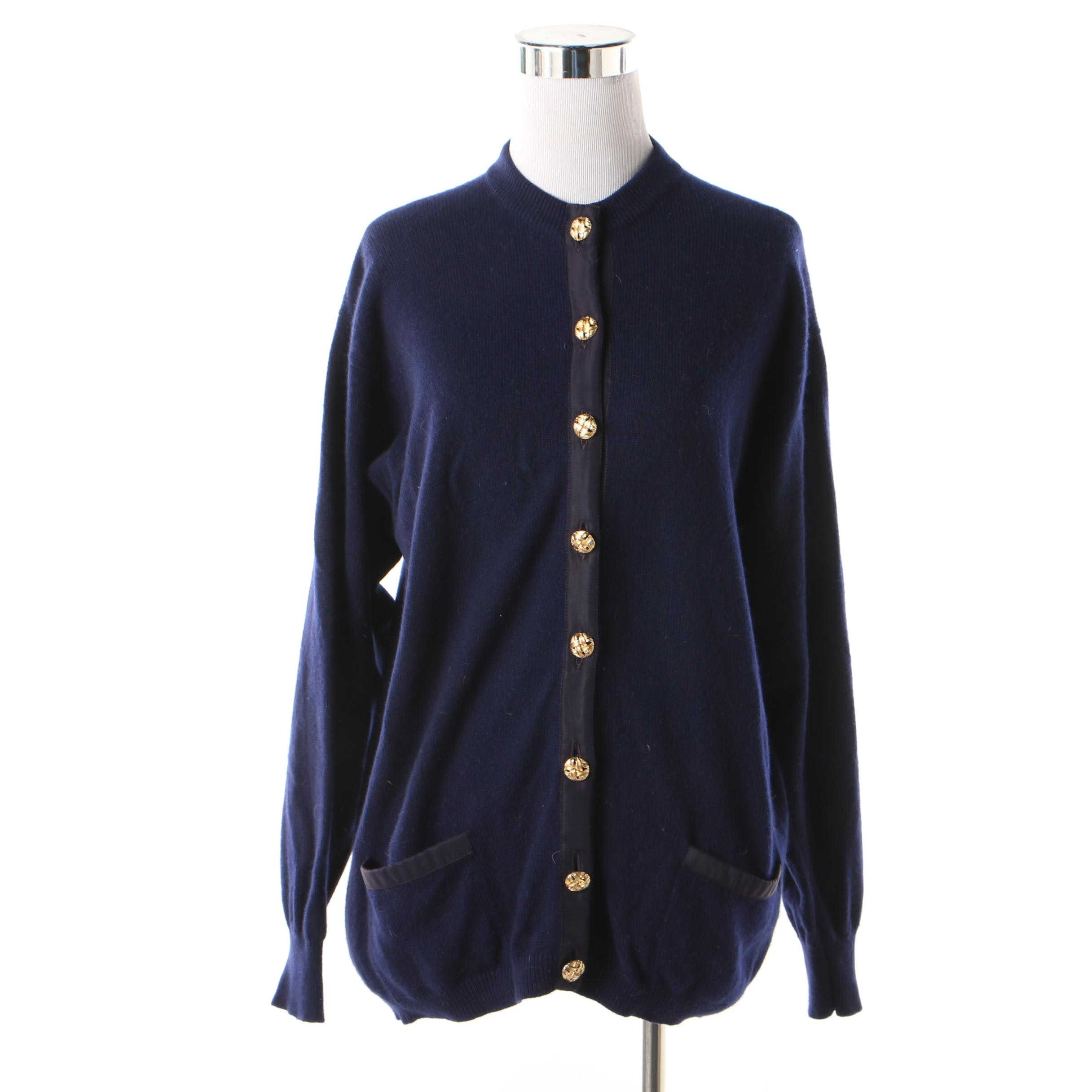 Women's Burberrys Navy Blue Cashmere Cardigan with Patch Pockets, 1980s