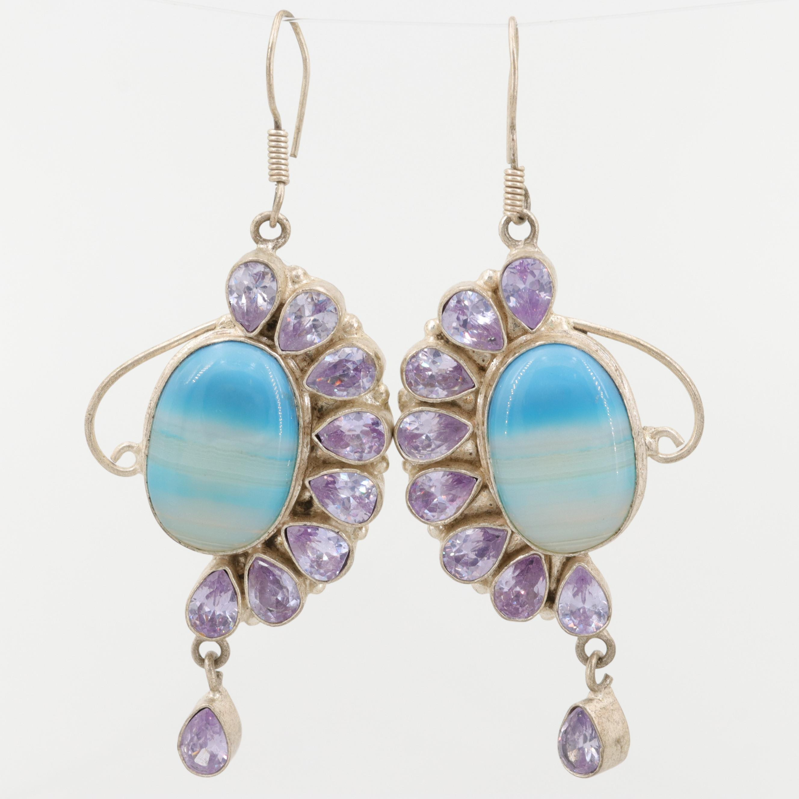 Sterling Silver and Silver Tone Dyed Agate and Cubic Zirconia Earrings