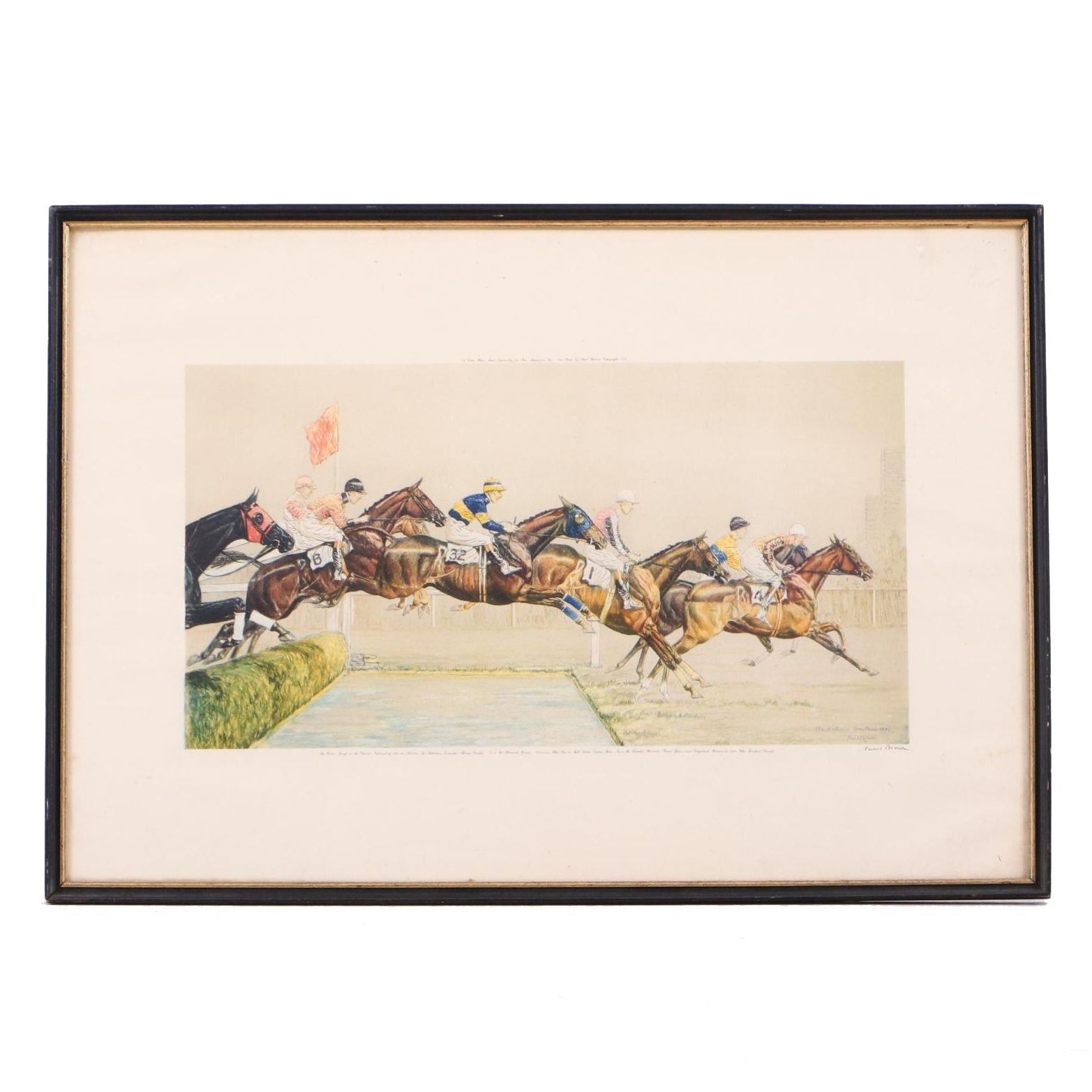 "Paul Brown Color Lithograph ""The Water - Aintree"" from The Grand National"