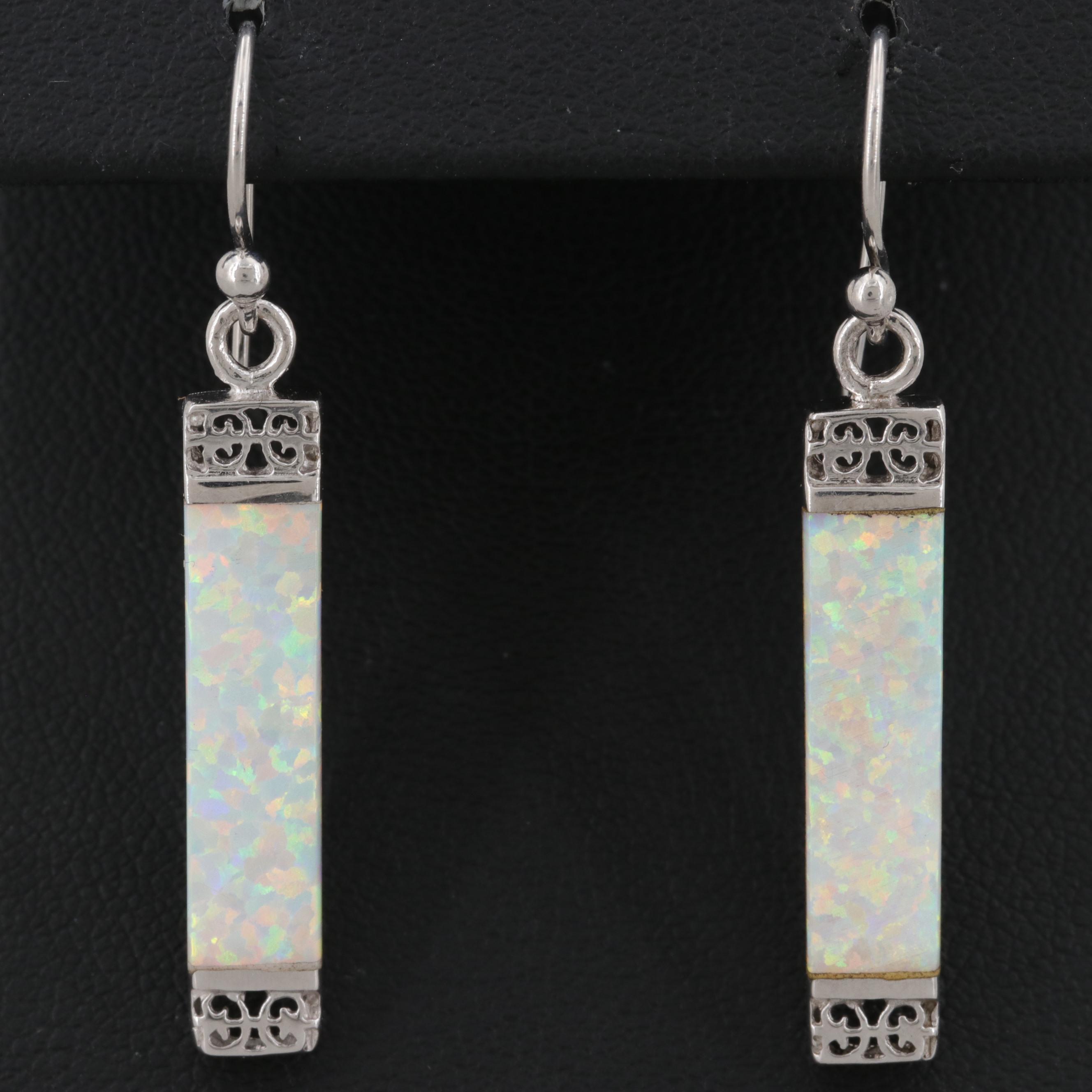 Sterling Silver Synthetic Opal Earrings