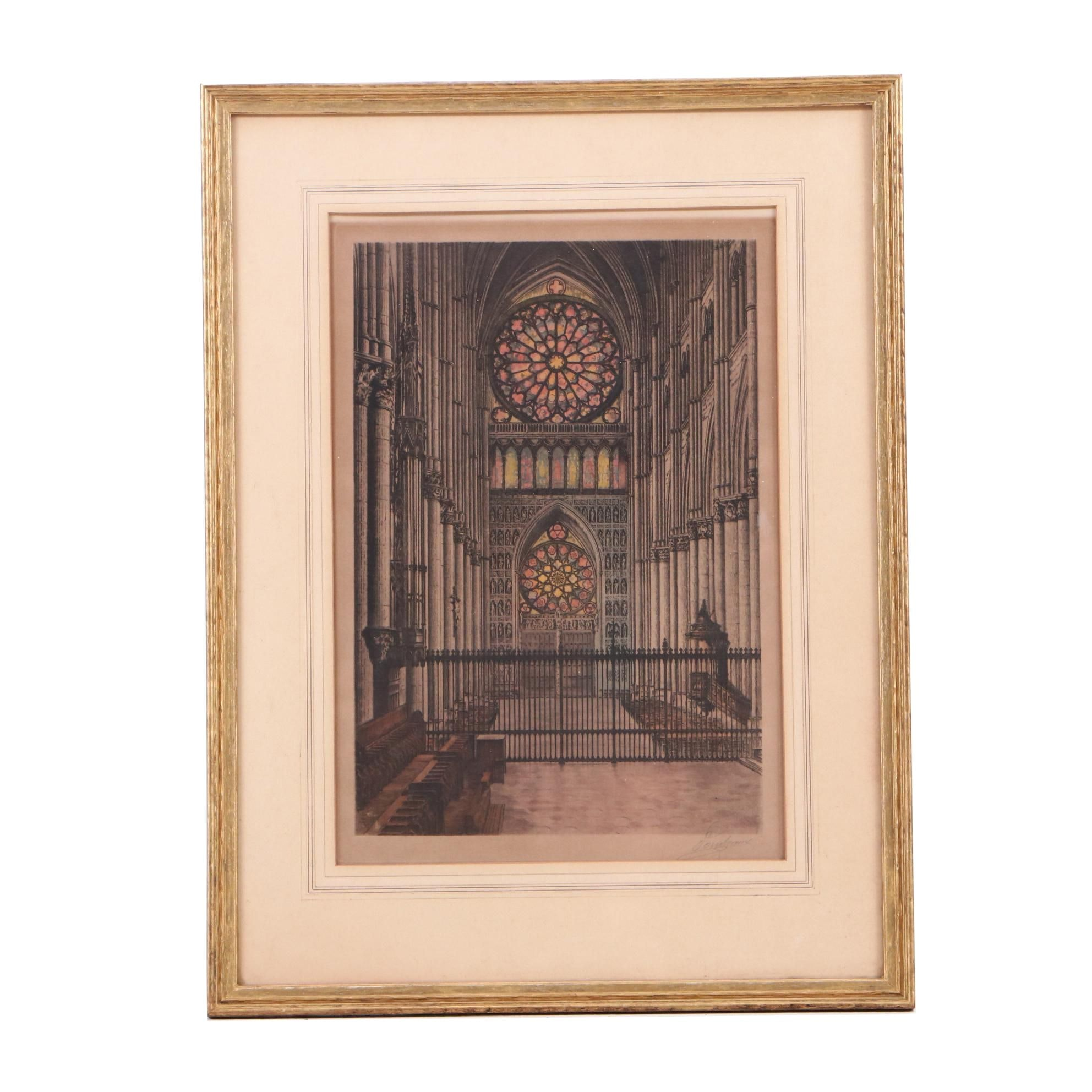 Etching with Aquatint of Cathedral Interior