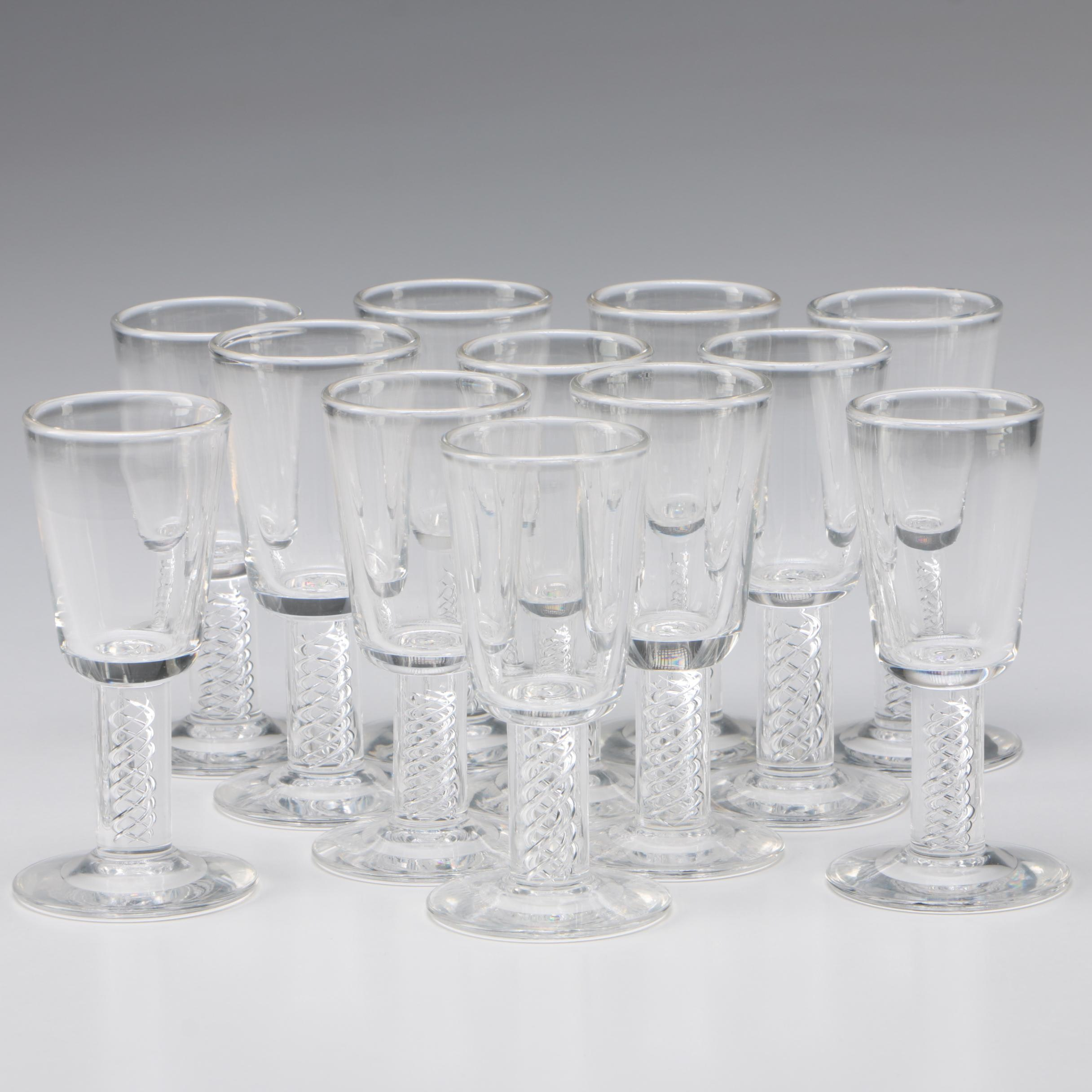 "Steuben Art Glass ""Air Twist"" Cordial Glasses, Mid-Century"