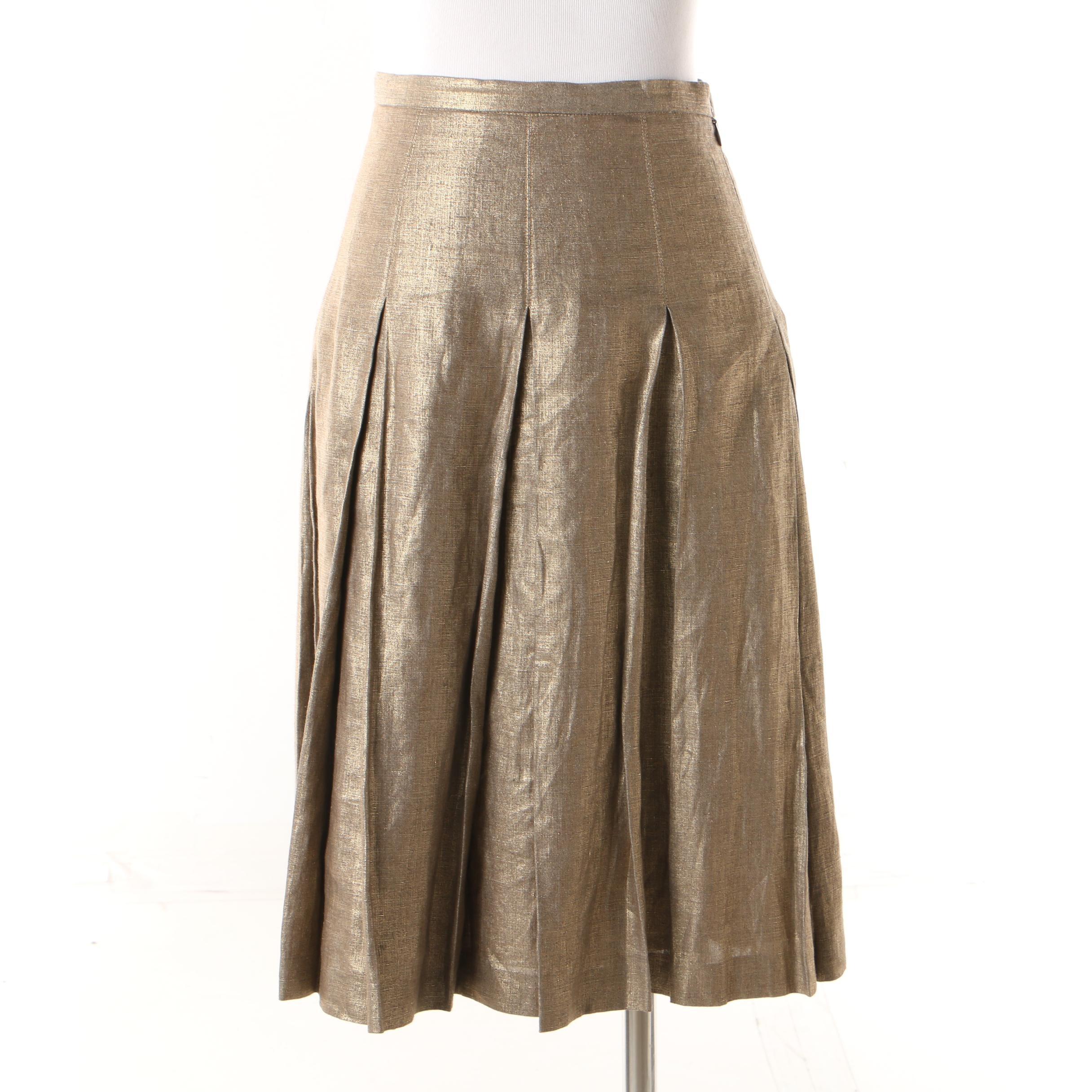 Women's Burberry London Metallic Gold Linen Pleated Skirt
