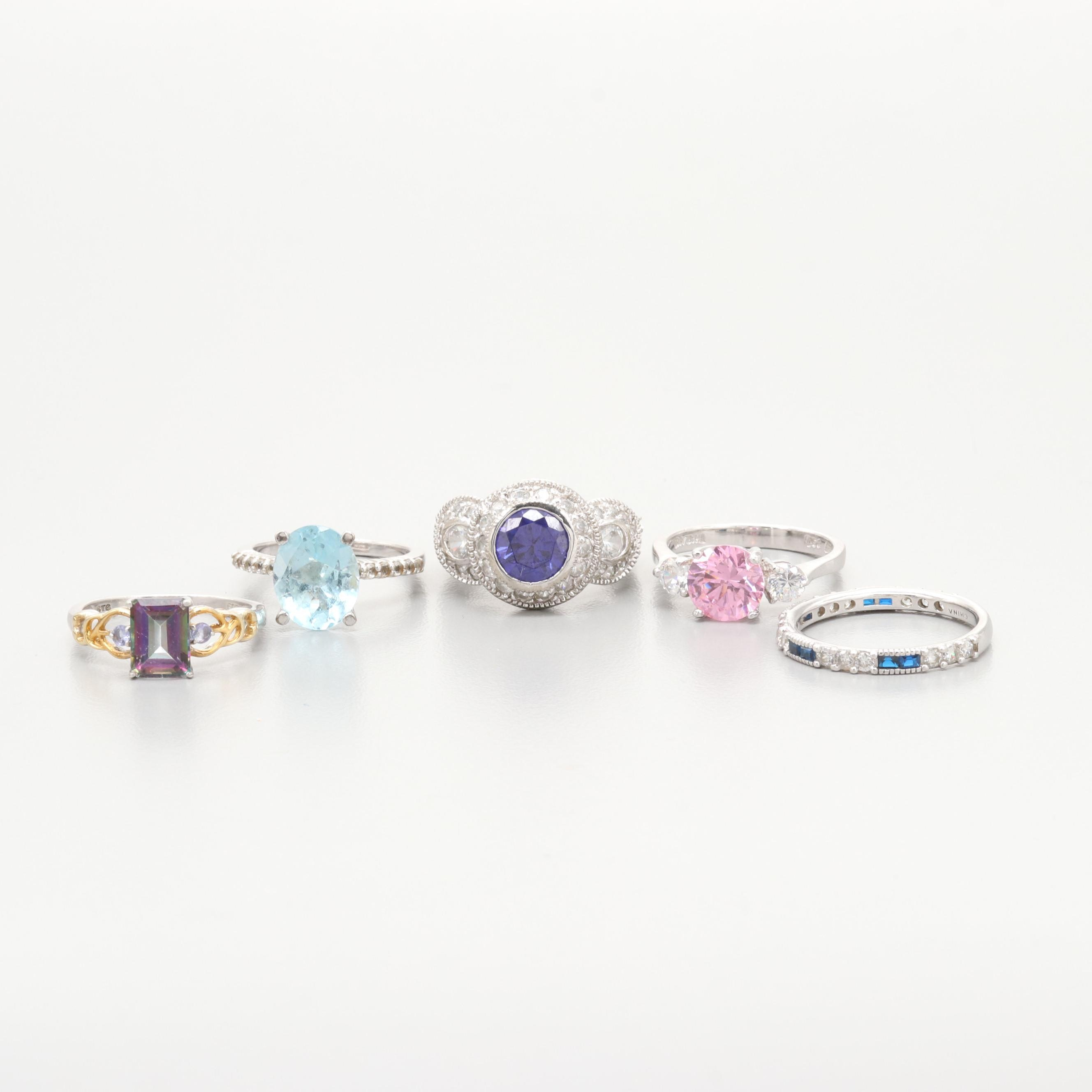 Assorted Sterling Silver Topaz and Cubic Zirconia Rings