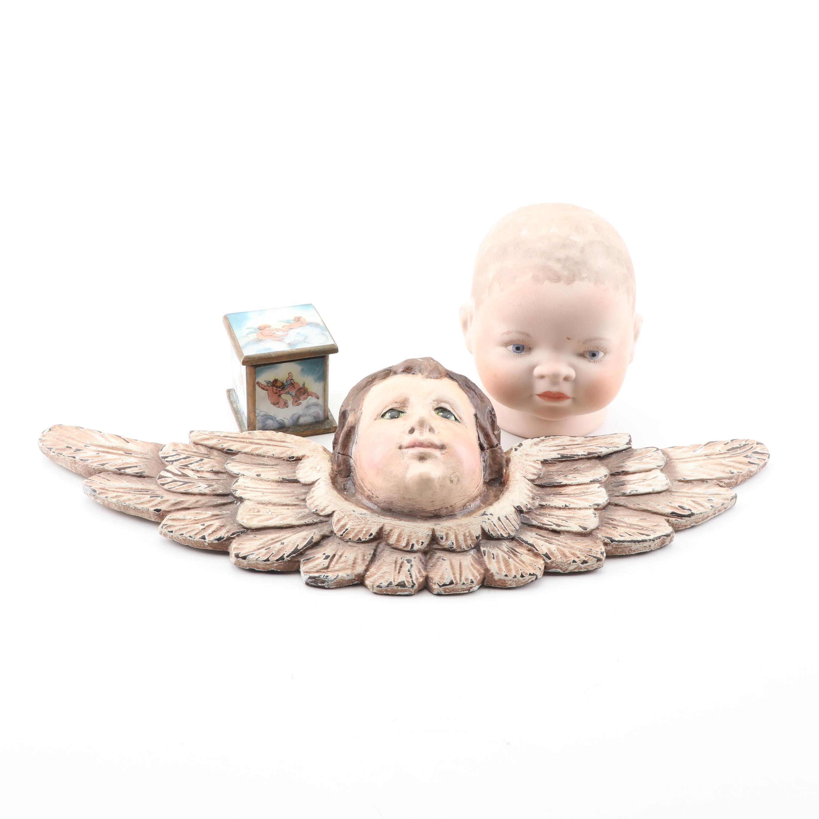 Cherub Wall Hanging, Wooden Trinket Box, and German Bisque Doll Head