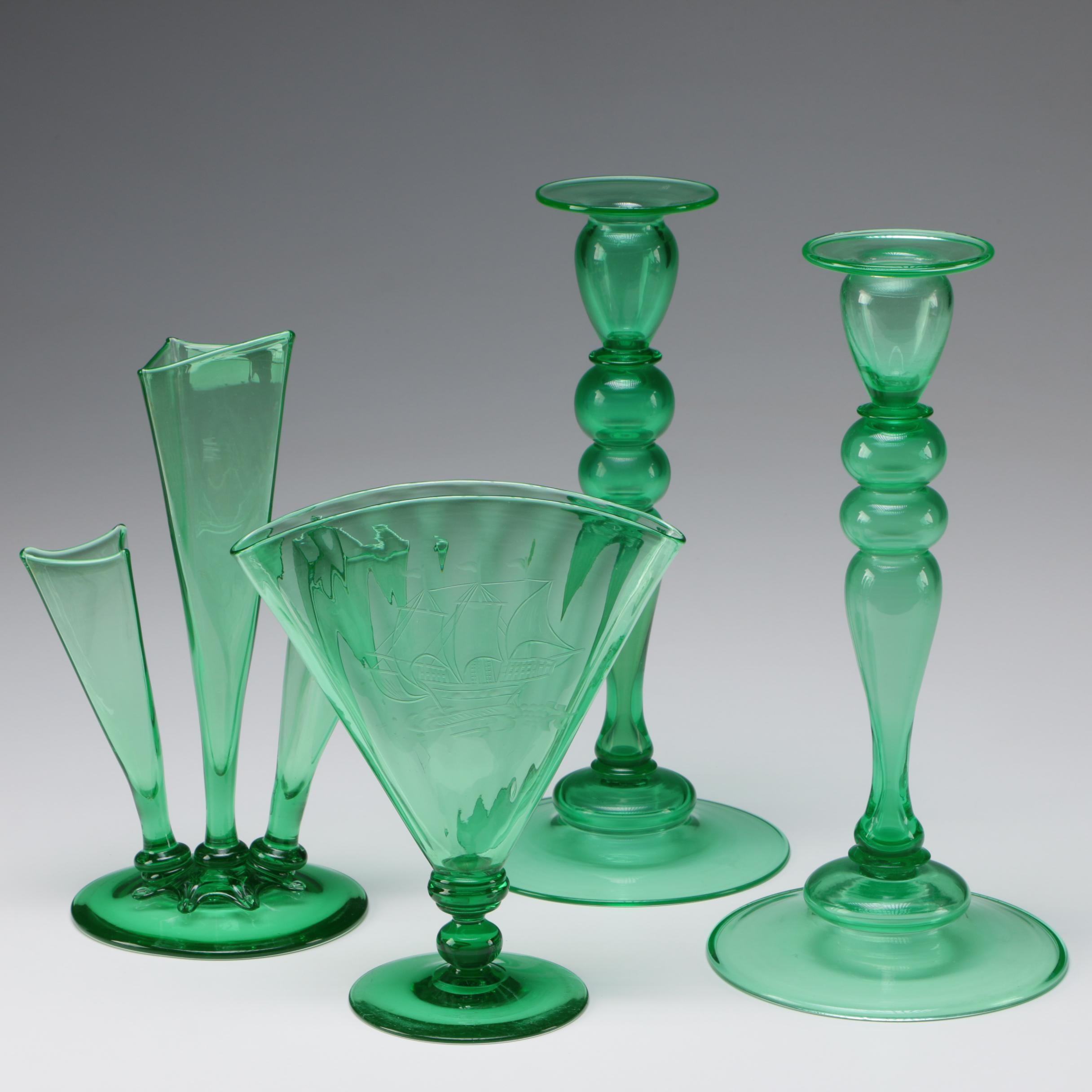 Steuben Pomona Green Art Glass Candlesticks and Vases, 1903 - 1933