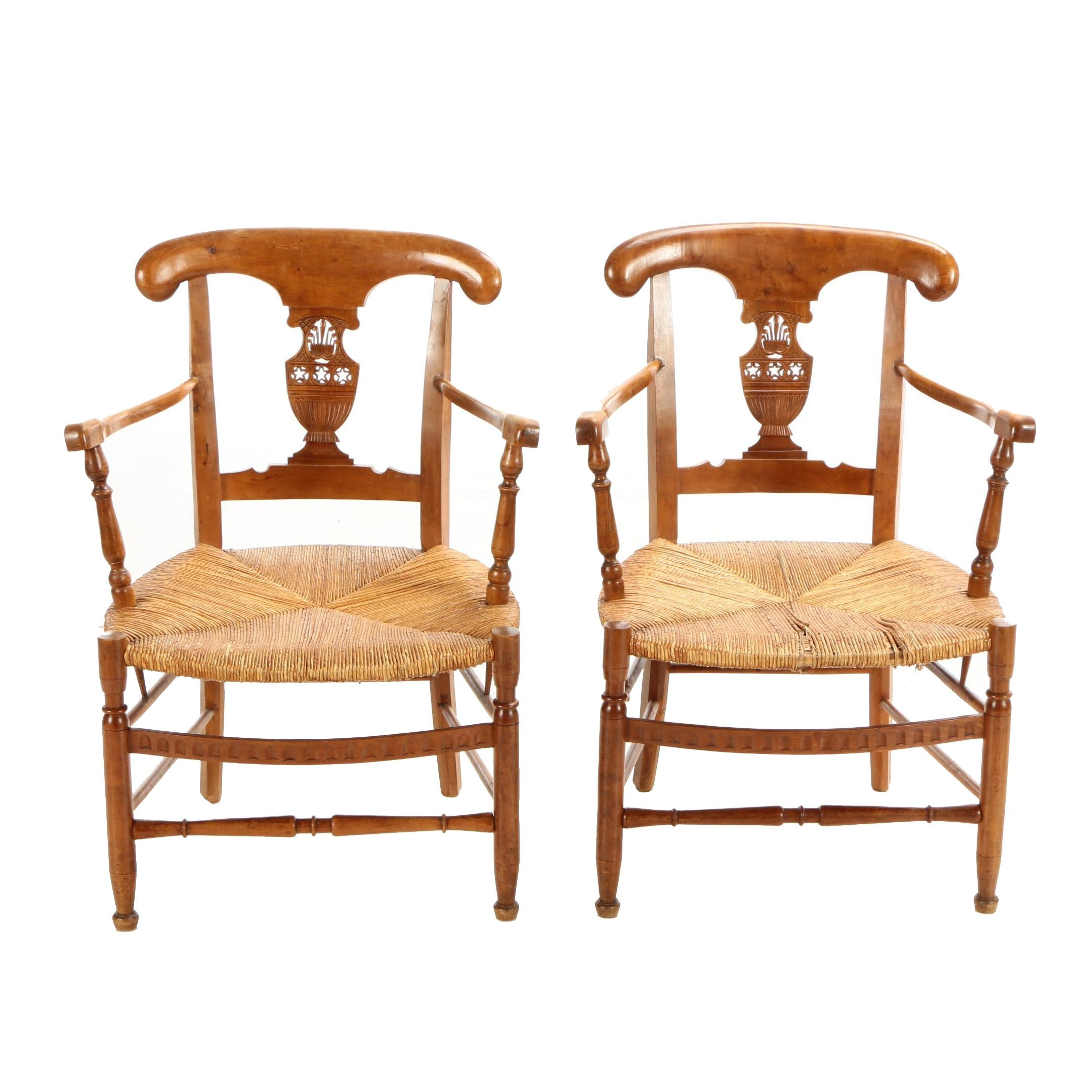 Pair of French Provincial Open Armchairs, Late 19th/Early 20th Century