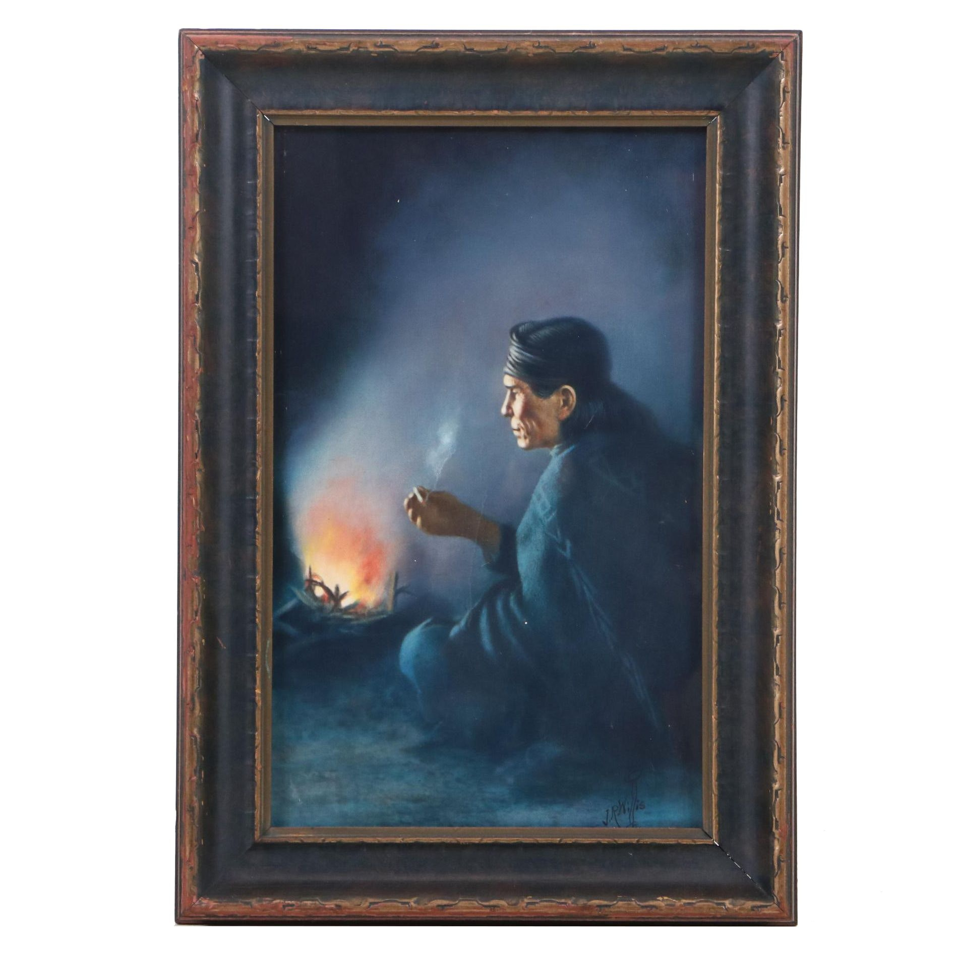 "Joseph R. Willis Mixed Media Drawing of Native American ""Sitting by the Fire"""