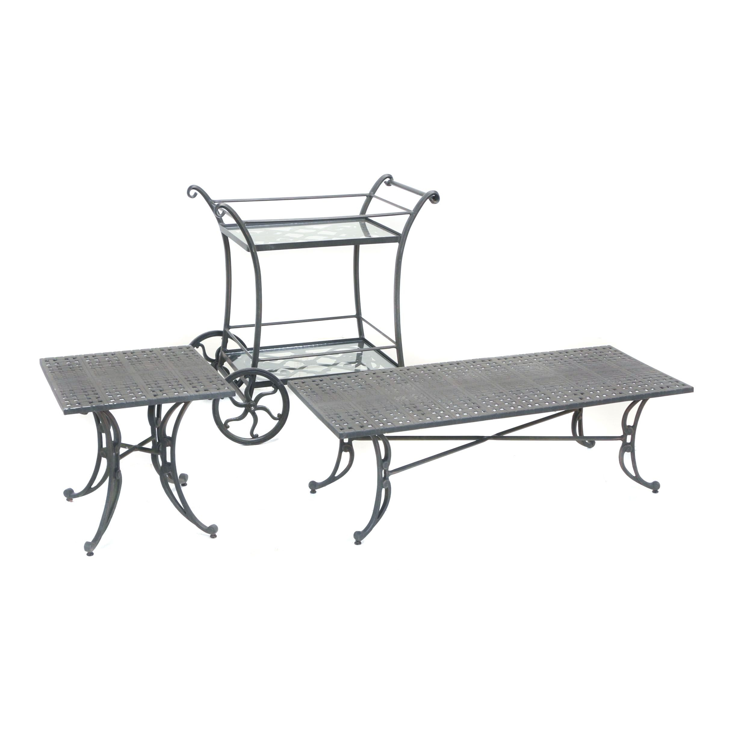 Cast-Aluminum Patio Serving Cart and Two Accent Tables by Windham Castings