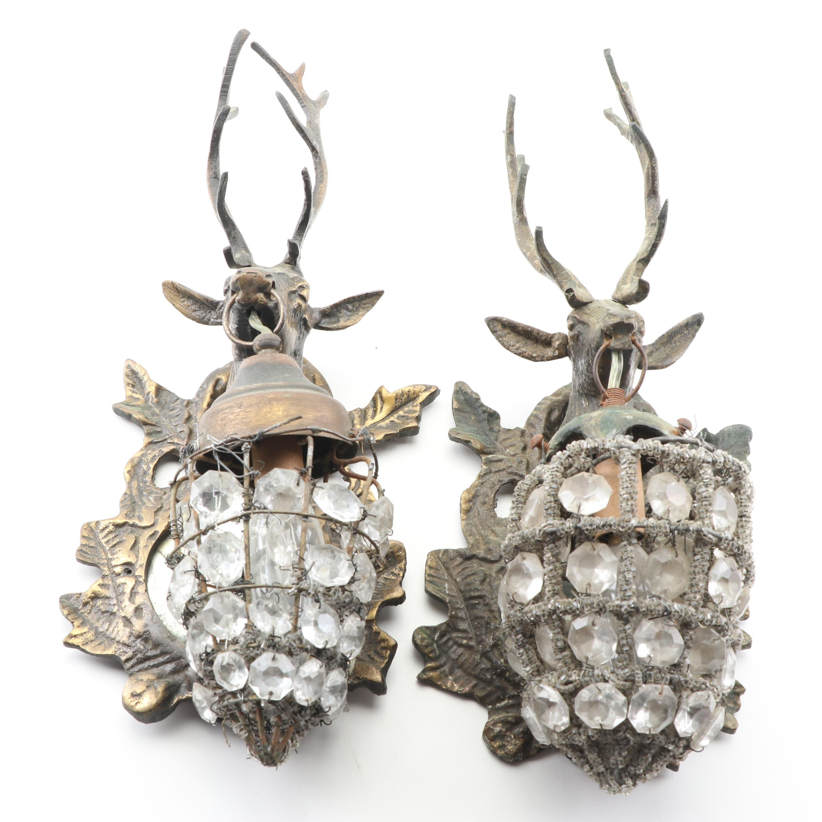 Beaded Mirrored Spelter Deer Head Basket Wall Sconces, Early 20th Century