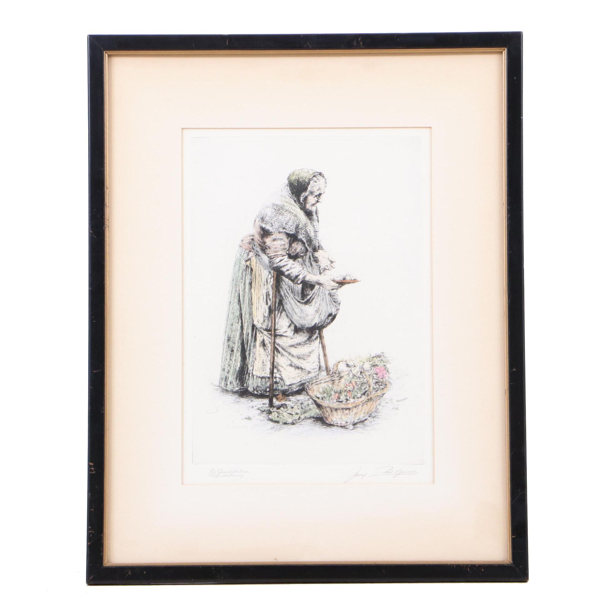 Hand-colored Etching of Peasant Woman with Vegetables