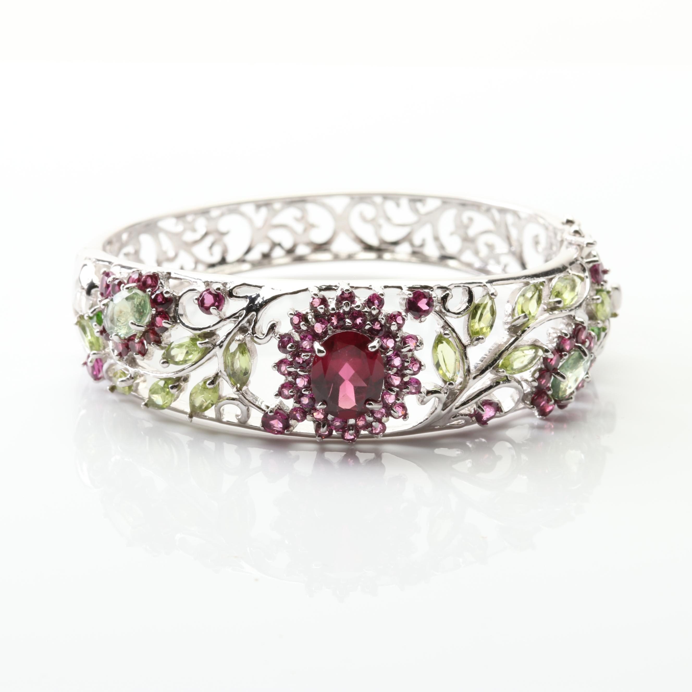 Sterling Silver Garnet and Peridot Multi-Stone Flower Bangle Bracelet