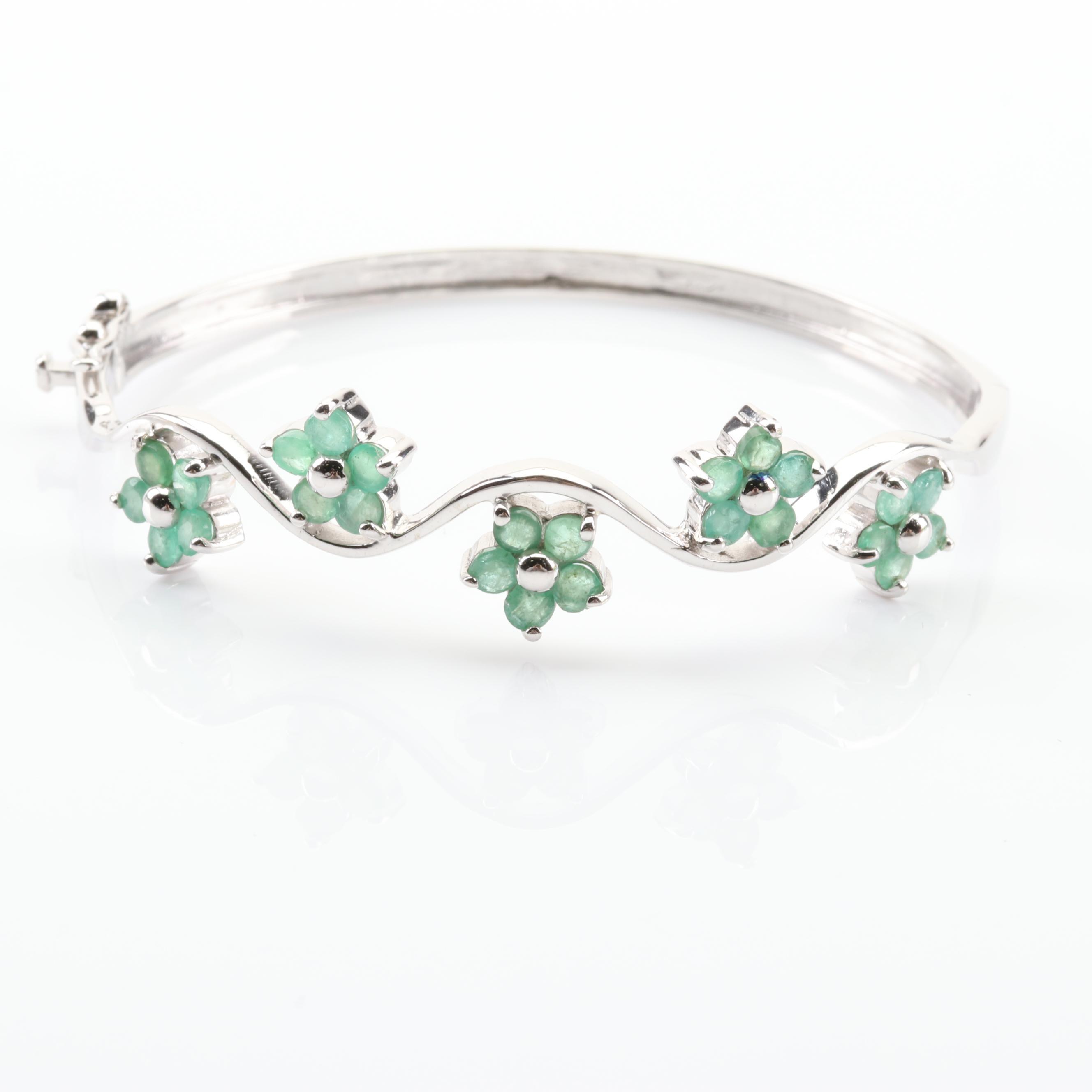 Sterling Silver 1.25 CTW Emerald Bangle Bracelet