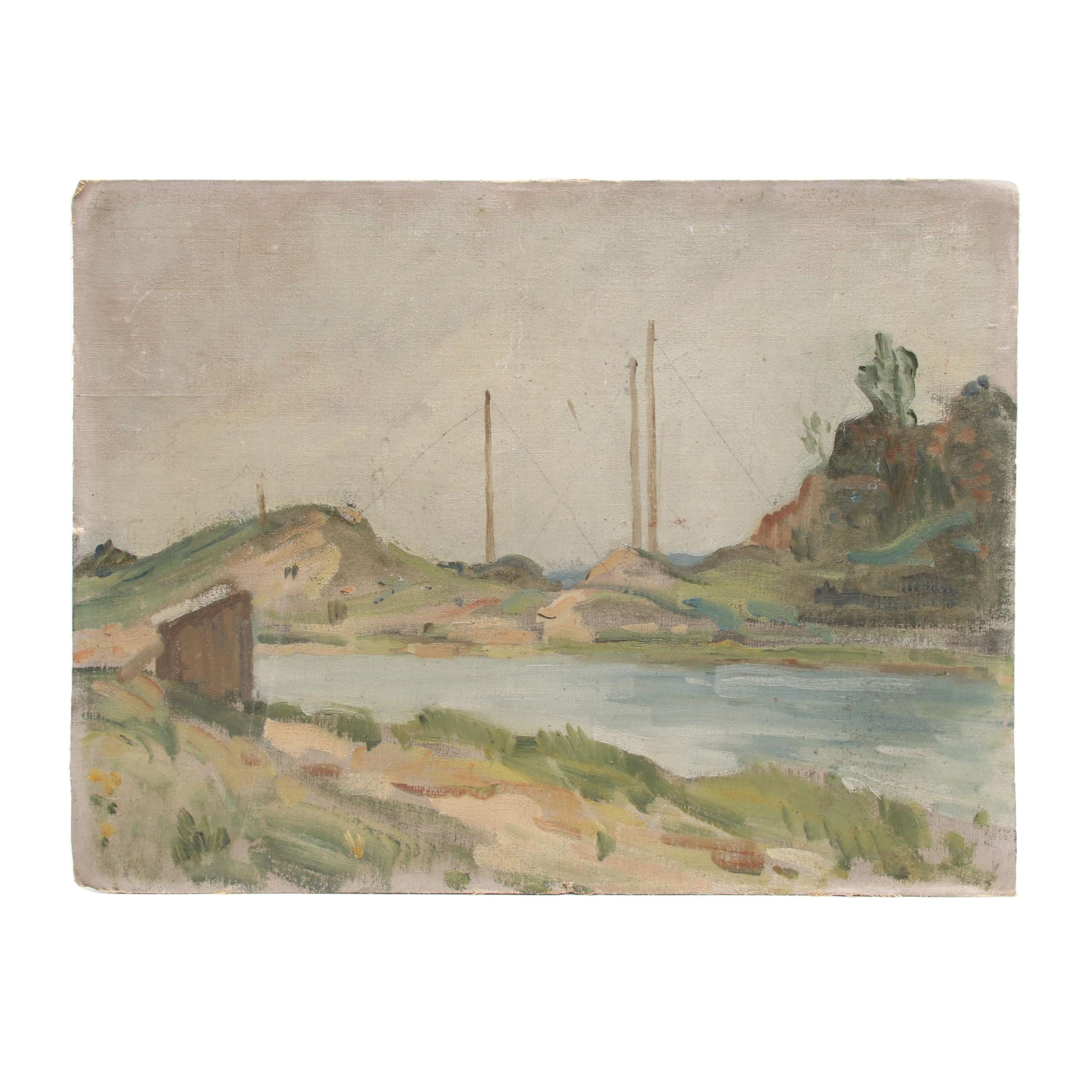 Landscape Oil Painting of River Scene