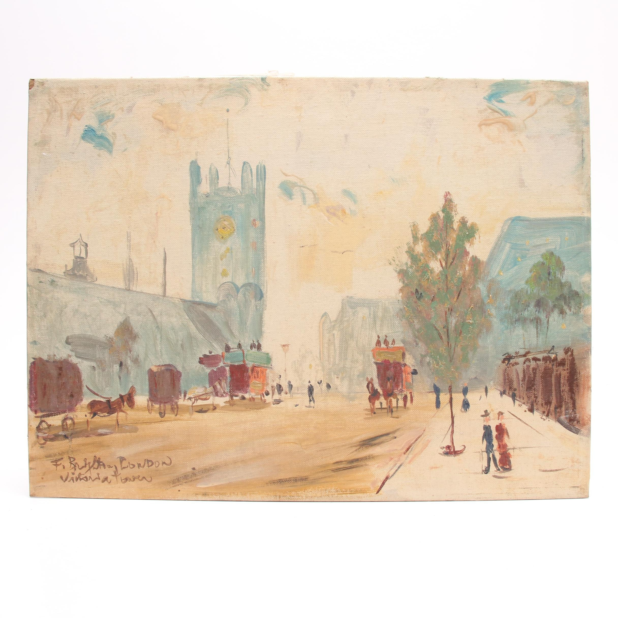 Vintage Oil Painting of London Street Scene