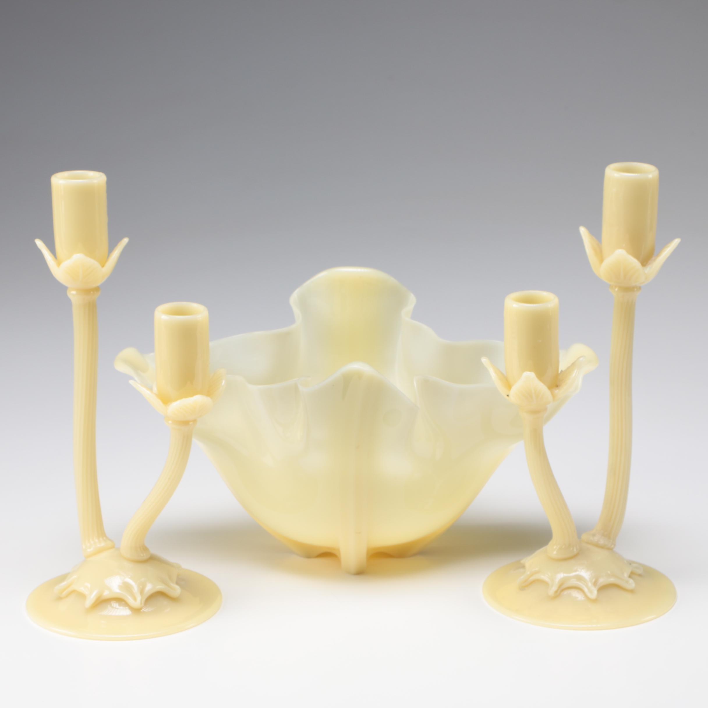 Steuben Ivory Art Glass Candelabra and Centerpiece Bowl, 1903 - 1933