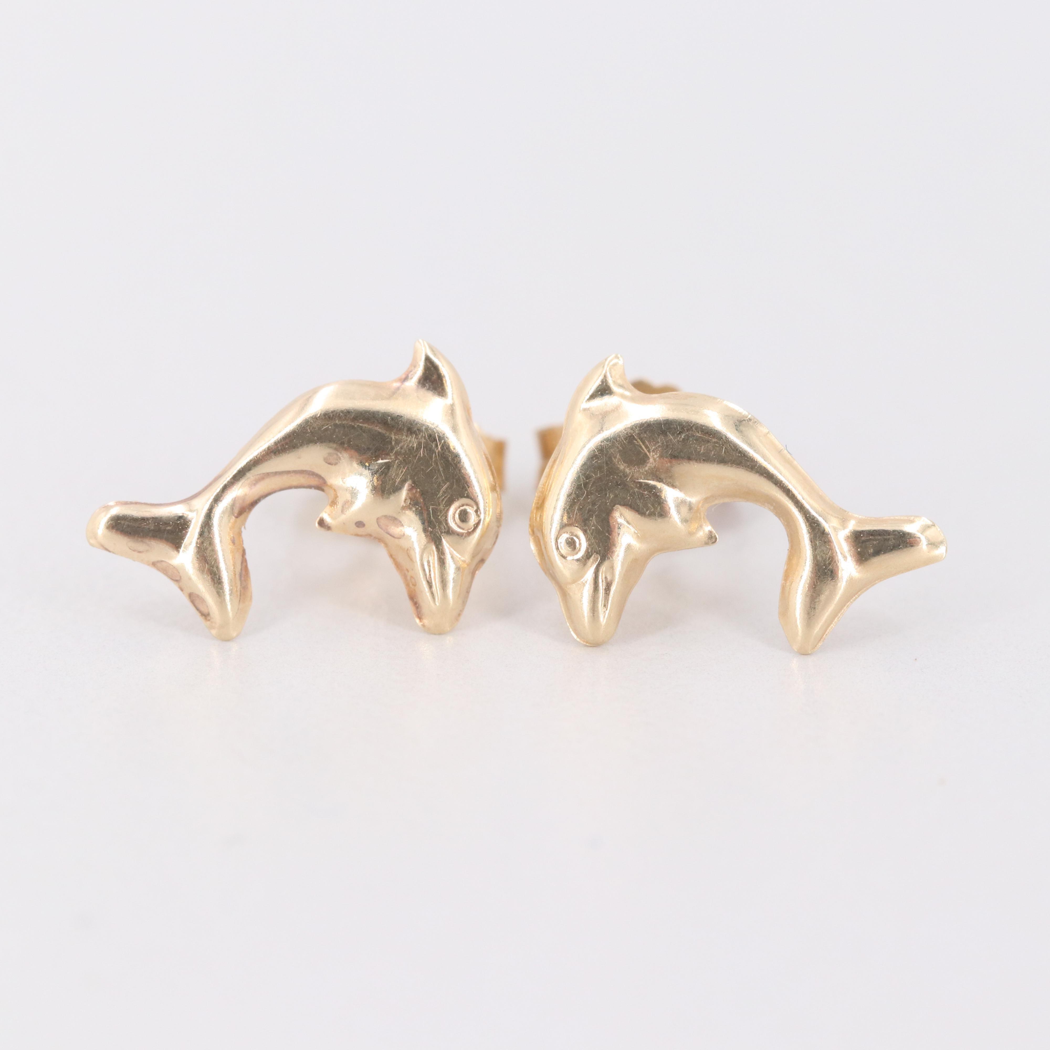 14K Yellow Gold Dolphin Motif Earrings